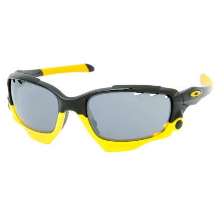 "Camp and Hike In honor of The Lance himself, his foundation, and his superhero-like fight against cancer, Oakley offers this special Livestrong edition of the Jawbone. The upper part of the frame is polished Black, with Livestrong Yellow ""Jawbone"" lower frame. The lenses are vented Black Iridium. Black Iridium is a superb choice for the spring and summertime. It transmits only 10% of the available light to your eyes, also making it ideal for bright, sunny days. The great thing about Oakley Iridium lenses is that the Iridium coating creates a uniform filtering layer that optimizes contrast and reduces glare. And with every purchase of a set of Oakley Jawbone Livestrong Edition glasses, Oakley will donate $20 to the Livestrong Foundation.After all these years of Oakley boasting about the best optics in the business, meaning seeing clearer and with less distortion than just about anything else, they've gone out and beat their best. How' They did it by changing that which arguably makes sport shades sport shades. The pressure-fit lens. The lens that is held by only a small portion of the frame and can be removed. In order for your riding eyewear to do it's thing, the lens and frame are separate components with the lens probably being held in the frame by a notch in the lens or lenses and that notch matching a tab in a frame. In order to hold, there's likely some flexing of plastic going on. That flexing causes distortion. The more sensitive of us can really feel it, the rest probably just sense it. Rigid frames and rigid lenses can minimize this distortion, but have a hard time totally removing it. The Oakley Jawbone doesn't use pressure to hold in the lens. The Jawbone lens is clamped into place, both firmly and softly, by the hinged jawbone on the lower part of the glasses. Oakley calls this Switchlock technology. - $205.00"