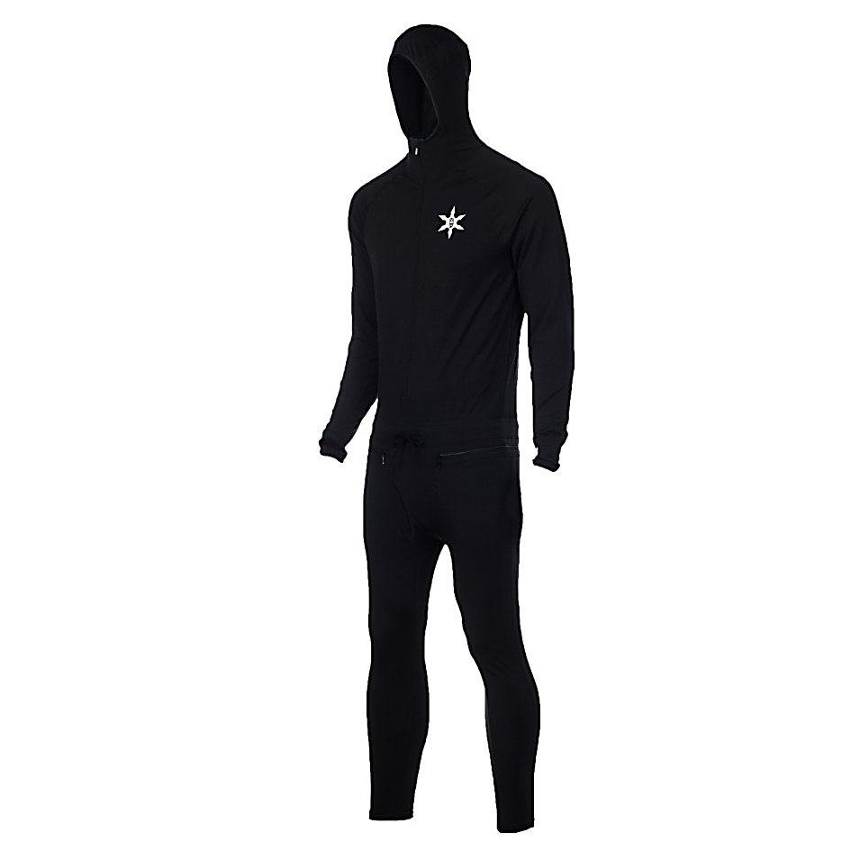 Ski Air Blaster Ninja Suit Classic Mens Long Underwear Top - The Air Blaster Ninja Suit Classic Long Underwear is a baselayer that you'll never want to be without. It's designed to keep you very warm and dry by ensuring that the snow never contacts your skin. Using Air-Tech 4-Way Stretch Fabrics you'll be able to move with full mobility that you don't need to worry about any restriction of movement. The Air-Tech also wicks moisture away from your body so that you're never chilled from your own sweat. The Seven-Panel Ergonomic Hood blocks the wind and snow from freezing your ears and head up. Okay, so you're final question is, how do you go to the bathroom with this thing on? No worries. Depending on what you need to do you'll have a Circumferential Waist Zip and a Front Fly. The future of baselayers are here and it all starts with the Air Blaster Ninja Suit Classic Long Underwear. . Fit: Tight, Warranty: Other, Material: Synthetic, Weight: Mid, Type: Full Suit, Neck: Crew, Model Year: 2013, Product ID: 298623 - $109.95