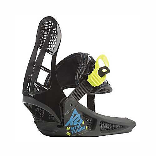 Snowboard K2 Mini Turbo Kids Snowboard Bindings - Kids and parents alike love the simplicity, ease-of-use, growth and value that the K2 Mini Turbo bindings provide. The combination of a single supportive strap that captures the entire boot and EZ Feed ratchets means less fumbling with gear and more time on the slopes. Kids feet grow, why shouldn't their bindings? The integrated chassis/highback is easily adjustable to three different lengths. K2's Patent Pending EZ Mount system secures the bindings securely to any standard 4-hole pattern without sacrificing stance-angle adjustability. . Recommended Use: All-Mountain, Strap Material: EZ Feed Ratchet Straps, Flex: Soft, HighBack: Adjustable Height, Buckles: EZ Feed Ratchets, Toe Strap Style: Traditional, Warranty: One Year, Quick Entry: No, Canted Footbed: No, ICS Channel Compatible: No, Traditional Burton (3D) Compatible: No, Standard 4 Hole Compatible: Yes, Chassis Material: Composite, Binding Compatibility: Standard 4 Hole, Skill Range: Beginner - Advanced Intermediate, Model Year: 2011, Product ID: 216789, Shipping Restriction: This item is not available for shipment outside of the United States., Gender: Kids, Skill Level: Beginner - $39.94