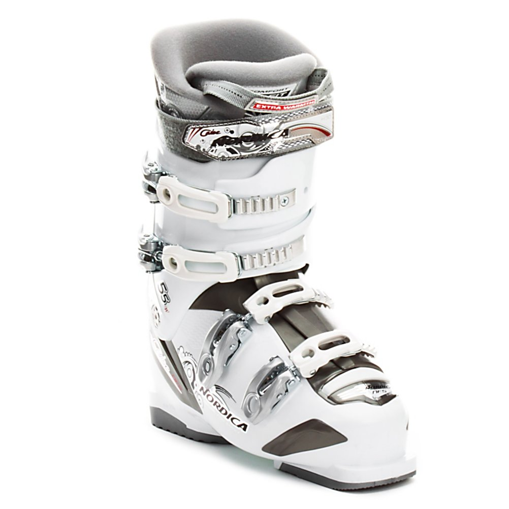 Ski Nordica Cruise 55 W Womens Ski Boots - The Nordica Cruise 55W is a nice wide fitting boot in the forefoot and shaft of the leg for a beginner, or the young lady who is ready for her first adult ski boot. The 55 flex is soft, but will still give the support and cushion that a true beginner needs. At 104mm wide the Cruise 55W has a Natural Foot Stance (the feet are abducted with the toes pointing outward the way you would normally stand) to help you with energy transfer and balance. The PFP Performance Fit Women's Liner is soft and cushy, with added padding for extra warmth. The 3 Positioned screwed buckles in the upper cuff give you a wide range of adjustment to get the fit just right around the shaft of the leg. A perfect beginner boot the Nordica Cruise 55W has a wider forefoot and lots of adjustment in the cuff. . Actual Flex: 55, Cuff Alignment: Single, Warranty: One Year, Gender: Womens, Special Features: Natural Foot Stance, Width: Wide (104-106mm), Special Features: PFP Womens Specific Performance Fit Liner, Flex: Soft, Race: No, Used: No, Ski/Walk: No, Prewired For Heat: No, Number of Micro Buckles: 2 Micro Adjustable 3 Position Upper Buckles, Freestyle: No, Sidecountry: No, Forefoot Width: 104mm, Flex Adjustment: No, Buckle Count: 4, Buckle Material: Aluminum Alloy, Category: Downhill, Skill Range: Beginner - Intermediate, Model Year: 2012, Product ID: 230083 - $139.97