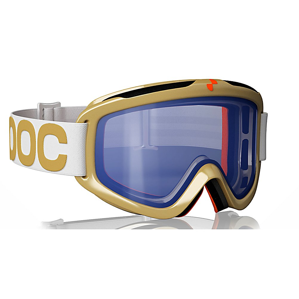 Ski POC Iris Comp Large Swedes Goggles - The Iris Comp Swedes goggles was a collaboration between Maria Pietila Holmner, Mattias Hargin and Andre Myhrer from the Swedish Ski Team. These creatively designed POC goggles are made for competitive and advances skiers who crave greatness. The Iris Comp Large Swedes adult goggles are created for those who demand high precision with no risk of optical distortion. Iris Comp comes with three single-lenses supplied as a standard clear, blue, and smokey yellow to give you the best possible perception of the surroundings in different light conditions on the slope. These golden colored goggles are designed with a hip modern style and also have an anti-fog and anti-scratch treated lens. . Frame Size: Medium, Frame Size: Large, Lens Shape: Flat, Lens Coating: n/a, Has Fan: No, Model Year: 2011, Product ID: 195496, Headphones Included: No - $59.95