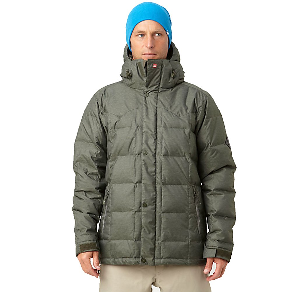 Snowboard Quiksilver Caiman Down Mens Insulated Snowboard Jacket - The Quiksilver Caiman Down jacket is perfect for staying warm in cold temperatures. Whether your riding in Whistler or just outside shoveling your drive-way this is the perfect jacket for both. Highly water-resistant fabrics keep you dry and goose-down insulation keeps you warm. Metaluxe metallic zippers provide easy zip up while internal media and goggle pockets keep you organized. The Quiksilver Caiman Jacket is the closet thing you can get to feeling like your on a sunny beach while riding in the cold. Features: 72% Nylon 28% Polyester two-tone textured file weave. Exterior Material: 72% Nylon 28% Polyester two-tone textured file weave, Insulation Weight: 240gms down fill: 50% duck down 50% feathers, Taped Seams: Critically Taped, Waterproof Rating: 8,000mm, Breathability Rating: 5,000g, Hood Type: Removable, Pit Zip Venting: Yes, Pockets: 4-5, Electronics Pocket: Yes, Goggle/Sunglasses Pocket: Yes, Powder Skirt: Yes, Bearing Grade: Performance, Hood: Yes, Warranty: Other, Use: Snowboard, Battery Heated: No, Race: No, Type: Insulated, Cut: Slim, Length: Long, Insulation Type: Down, Waterproof: Moderately Waterproof (5000mm-19,999mm), Breathability: Moderate Breathability (4000g-8999g), Cuff Type: Velcro, Wrist Gaiter: No, Waterproof Zippers: No, Cinch Cord Bottom: No, Model Year: 2012, Product ID: 307335, Model Number: KKMSJ164-ARM XS, GTIN: 0883356800728 - $129.99