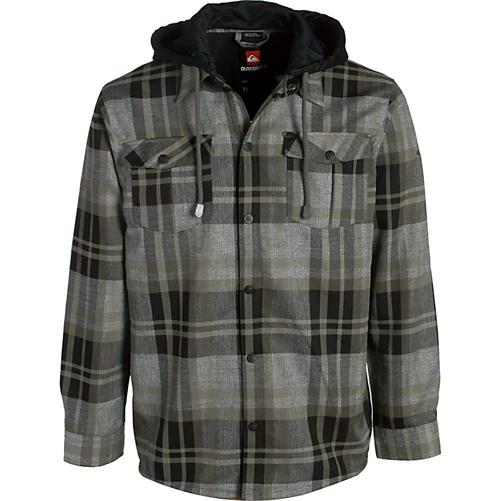 Ski Quiksilver Mapocho Riding Flannel Hoodie - Put on the Quiksilver Mapocho Riding Shirt Flannel and you'll ride in style while staying warm and feeling comfortable. This flannel-styled hoody is made from quick-drying polyester that has been treated with DWR. The DWR Treatment is a water repellent to help keep any melting snow that may fall onto from seeping inside and make you cold. It offers a super cozy quilted taffeta lining to keep you feeling very comfortable as you shred through the mountain. Look good, feel warm and ride in style with the Quiksilver Mapocho Riding Shirt Flannel. Features: Regular fit. Material: 100% Polyester yarn dyed plaid, Category: Mid-Weight, Bearing Grade: Performance, Hood: Yes, Warranty: Other, Battery Heated: No, Closure Type: Button Up, Wind Protection: No, Type: Flannels, Material: Synthetic, Pockets: 1-2, Wicking Properties: Yes, Sleeve Type: Long Sleeve, Water Resistant: Yes, Model Year: 2012, Product ID: 307318, Model Number: KKMSH283-BLK L, GTIN: 0883356798711 - $59.99