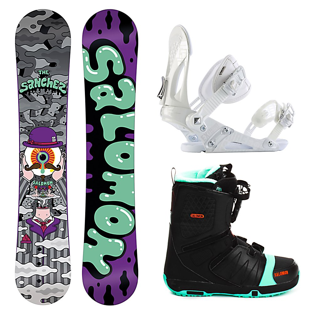 Snowboard Salomon Sanchez Wide EX Faction FS Complete Snowboard Package - For a soft, forgiving board that lets you get your jib on you will want to pick up the Salomon Sanchez Wide Snowboard Package. The Sanchez is a flexi park twin with tons of rail friendly features and a lively camber profile. The Sanchez is the perfect board to begin your conquest. A no-hang, pure Radial sidecut for clean switch tricks and easy spins, Sanchez has a Aspen Light core never buckles on steep transitions and deep presses. Perfect park lapper. Included in this package is the versatile and durable Ride EX binding. The EX features Ride's the Foundation chassis to provide all-mountain mid-flex performance and the Wedgie 1.5 footbed that has a subtle angle to provide the perfect mix of comfort and support. Combined with the ThinGrip toe strap and the ComfortFlex highback, you won't find a better value for any level of rider. Rounding out this package is the vicious beast of a boot the Salomon Faction FS boot. This boot features Salomon's Speed Powerlace system that'll have you lacing up faster than Superman. In case you want to fly like him too, a Stomp outsole and feel good liner will give you the protection and comfort you need when you stomp the landing. You'll also have your feet chillin on memory foam that's more comfortable than your bed. Autofit will self adapt to your feet's shape giving you a custom fit. Go ahead, carve the pow and butter all day. Get your feet dirty because this puppy has a bamboo footbed that provides gnarly natural antibacterial action. Snow - $379.99