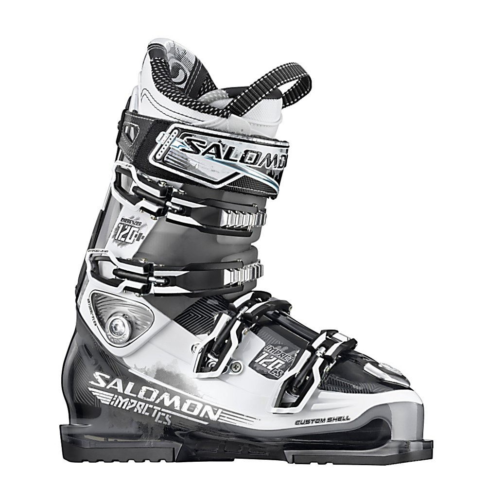 Ski Salomon Impact 120 CS Ski Boots - The Salomon Impact 120 CS Ski Boots are a slick high-performance and all-mountain boot designed specifically for the advanced skier. Boasting performance and comfort, these boots are technologically advanced and simply awesome. They have a Bi Material PU lower shell and upper cuff which offer improved leg wrapping and progressive flex. The Custom Shell is a technological marvel. The Custom Shell allows the boot to mold around the foot by utilizing a plastic material called Kaprolene. This reduces foot pain, fatigue and many other issues that may plague skiers. Easy closure, double canting and heel and toe removable din pads adds to the features that make this Salomon Impact 120 CS Ski Boots absolutely outstanding. Finally, the My Custom Fit Sport Liner is a thermoformable foam providing personalized comfort and plenty of warmth while the Sensitive Liner is a leather-textured liner for foot envelopment and making these boots seam sealed and 100% waterproof. . Actual Flex: 120, Cuff Alignment: Dual, Warranty: One Year, Special Features: My Custom Fit Pro Liner, Width: Medium (100-103mm), Special Features: World Cup Advanced Shell Technology, Flex: Stiff, Race: No, Used: No, Ski/Walk: No, Prewired For Heat: No, Number of Micro Buckles: 4, Forefoot Width: 100mm, Flex Adjustment: No, Buckle Count: 4, Buckle Material: Titanium, Skill Range: Advanced - Pro, Model Year: 2012, Product ID: 235200, Category: Downhill, Sidecountry: No, Freestyle: No, Gender: Mens - $479.95