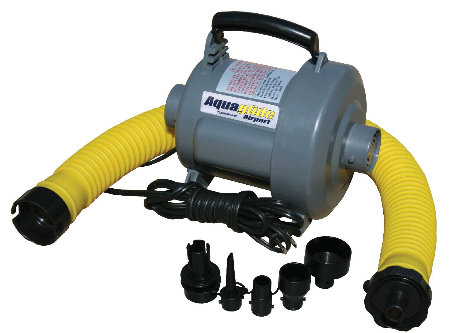 "Wake Extremely powerful 110v electric pump for watersports and Platinum aquapark items. Our highest volume pump, the Turbo 110v is specifically designed for inflating towables and large aquapark items with shocking speed. Powerful pump motor has the extra muscle needed to reach the proper pressure quickly (2.8 psi max). Convenient deflate option saves the day (at the end of the day). Extra wide 1 u"" Kink-proof hose comes with attached fittings for Stem, Boston, Rapid Inflate, Fish Eye, and Halkey-Roberts valves. 110vAC power source, 2.8 psi max. - $79.99"