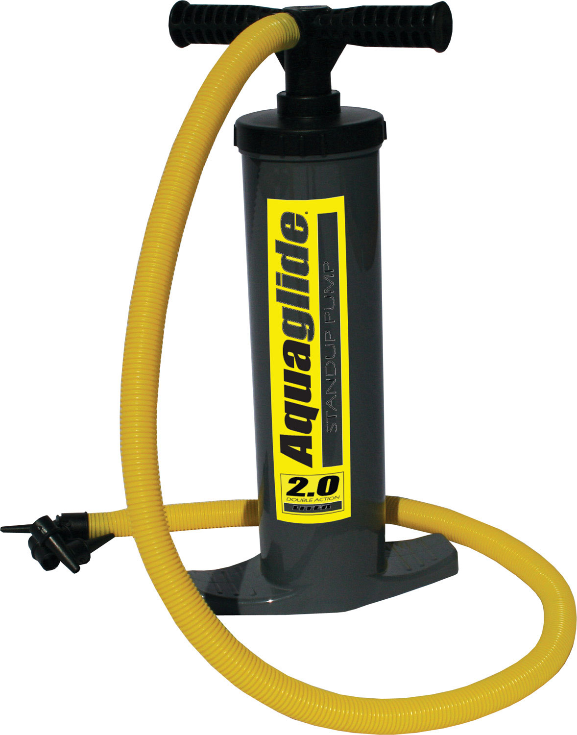 "Wake Double-action vertical push pump. The Push pump is an extremely versatile tool designed for watersports enthusiasts. Double-action feature pushes air on both the up and downstroke to quickly inflate items to moderate air pressure (2.6 psi max). Handy for topping off air pressure. By keeping the air intake high, this high-volume pump works well on any surface (even sand). Includes Kink-proof hose with attached fittings for Stem, Boston, Rapid Inflate, Fish Eye, and Halkey-Roberts valves. 12""W x 10""L x 24""H: Manual Pump - $35.95"