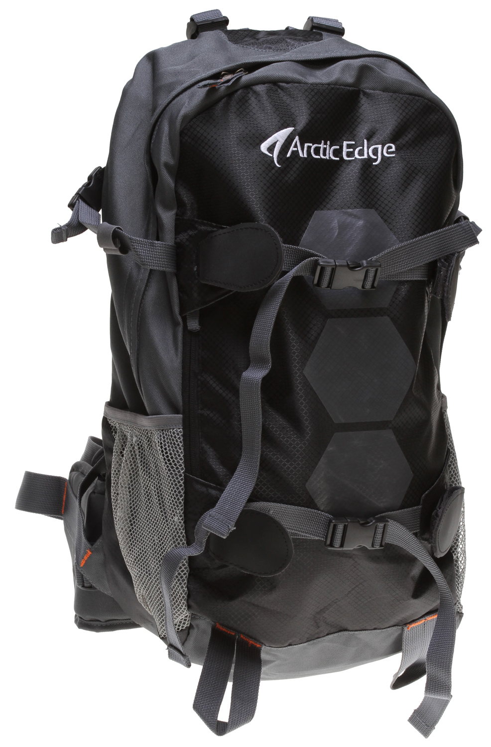 Ski Advanced ski backpack.Key Features of the Arctic Edge Vallee 25L Backpack: 2 external snow tool/ shovel holder Padded backside Aluminum rail Ergonomic straps and hip-belt Height adjustable chest strap Vertical ski/ snowboard carry system Top opening for hydro system - $49.85