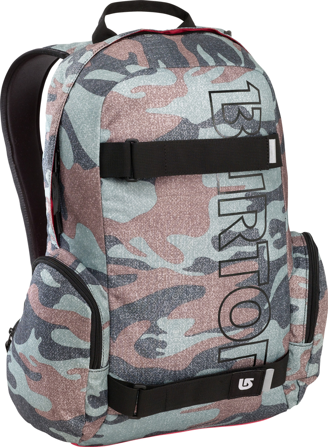 Snowboard Full featured skate pack with big time branding.Key Features of the Burton Emphasis Backpack: Fabrication: 600D Polyester / 300D Polyester Dobby Padded Laptop Pocket [11.5 in. x 10 in. x 1.5 in.] [29cm x 26cm x 4cm] Vertical Skate Carry Cush Ergonomic Shoulder Harness with Adjustable Sternum Strap Fleece-Lined Internal Pocket Dimensions: [18.5 in. x 12 in. x 7.5 in.] [47cm x 31cm x 19cm] 26L - $27.95