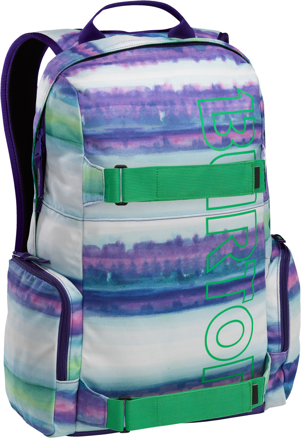 Snowboard Full-featured skate pack with big time branding. Padded sleeve stashes your laptop, exterior organization for easy gear access, plus skate straps for carrying a deck, jacket, or other gear.Key Features of the Burton Emphasis Backpack: Fabrication: 600D Polyester with Distressed PU Print [FREnDS colorway] Fabrication: 1680D Polyester Herringbone PU [cricket Herringbone colorway] Fabrication: 600D Polyester / 300D Polyester Dobby [all other colorways] Padded Laptop Sleeve [11.5in x 10in x 1.5in] [29cm x 26cm x 4cm] Vertical Skate carry cush Ergonomic Shoulder Harness with adjustable Sternum Strap Fleece-Lined Internal Pocket custom Ear Buds Included with FREnDS colorway [18.5in x 12in x 7.5in] [47cm x 31cm x 19cm] 26L - $49.95