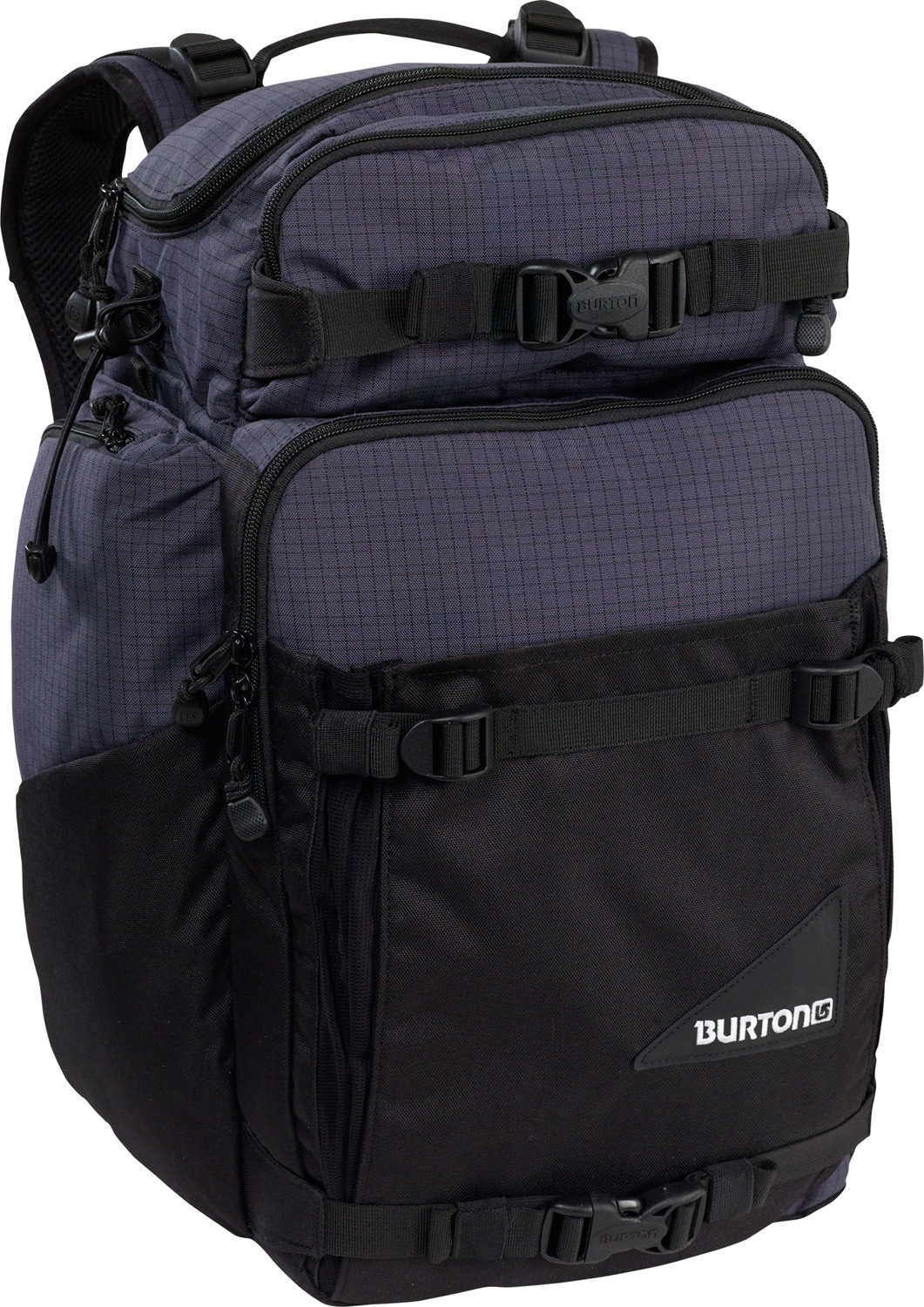 Snowboard Board, batteries, film, lenses, lights, camera, action! Even has laptop storage for on-site editing.Key Features of the Burton Resolution Backpack: Fabrication: 420D High-Density Nylon / 600D Asym Two-Tone Polyester Ripstop / 500D Cordura Cush Ergonomic Shoulder Harness and Ergonomic Back Panel Vertical Board / Tripod Carry with Hideaway Upper Straps Load-Balance Waist Harness with Storage Pockets Padded Customizable Internal Compartment Dual Side Panel Light Stem Storage External Shovel Blade Shove-It Pocket Padded Laptop Compartment [14 in. x 12.5 in. x 2 in.] [36cm x 32cm x 5cm] Removable Storage Pocket for Film, Cords, or Batteries Fleece-Lined Sound Pocket Oversized Beverage Stash Dimensions: [20 in. x 14 in. x 8 in.] [51cm x 36cm x 20cm] 27L - $80.95