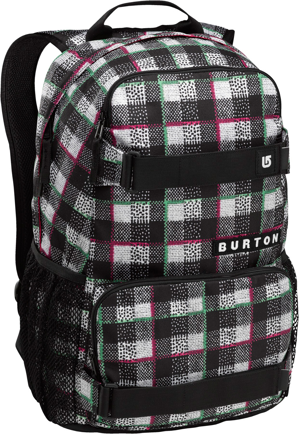 Snowboard Skate pack with 1,000 uses—the best deal going. External straps for a deck or other bulky gear, mesh water bottle pockets on the side for easy access to hydration and other necessities. Make every mission count with the Burton Treble Yell Backpack. It's got room for your laptop, shred mags, water, and supplies, plus nifty straps for your skateboard. Hot dang! Look at all those colorways! Nice price, too! It's hard to choose, so why not grab a few—one for school, one for work, one for road trips, another for skating, and one for your best friend's cousin. Key Features of the Burton Treble Yell Backpack:  21L 18.5in x 12in x 7in 47cm x 31cm x 17cm 1.5 lbs. 0.7kg Fabrication: 300D Yarn-Dyed Polyester [Misty Tidal Plaid] Fabrication: Polyspun Grograin [Phoenix Stripe] Fabrication: 600D and 450D Polyester [All Other Colorways] Vertical Skate Carry Magazine / Laptop Sleeve Cush Ergonomic Shoulder Harness Mesh Water Bottle Pockets - $25.95