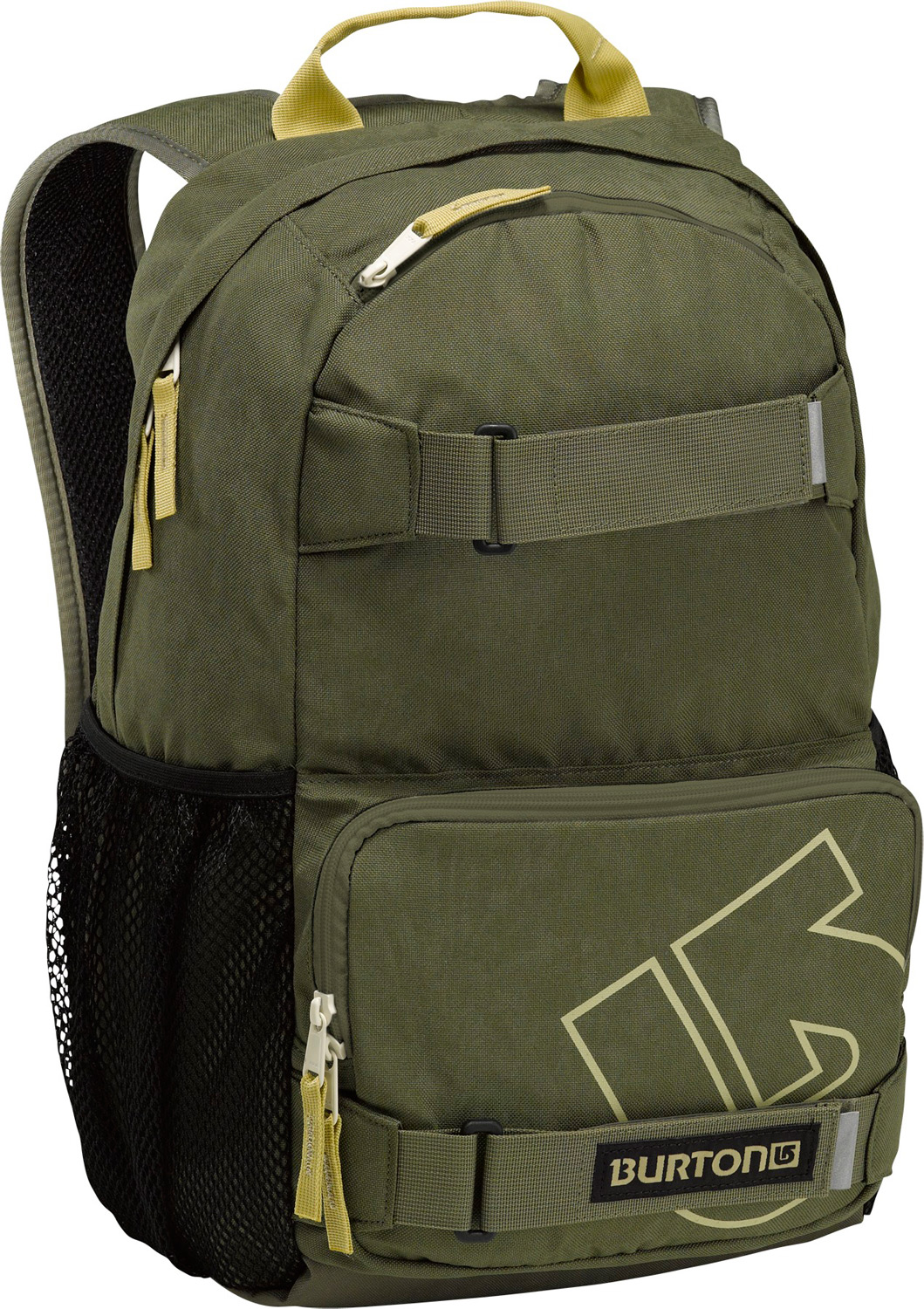 Snowboard Key Features of the Burton Treble Yell Backpack: Volume: 21L Weight: 1.5 lbs./0.7kg Dimensions: 18.5x12x7 in/47x31x17 cm Fabrication: 300D Polyester Dobby/600D Polyester Cush Ergonomic Shoulder Harness Vertical Skate Carry Magazine/Laptop Sleeve Mesh Water Bottle Pockets - $27.95