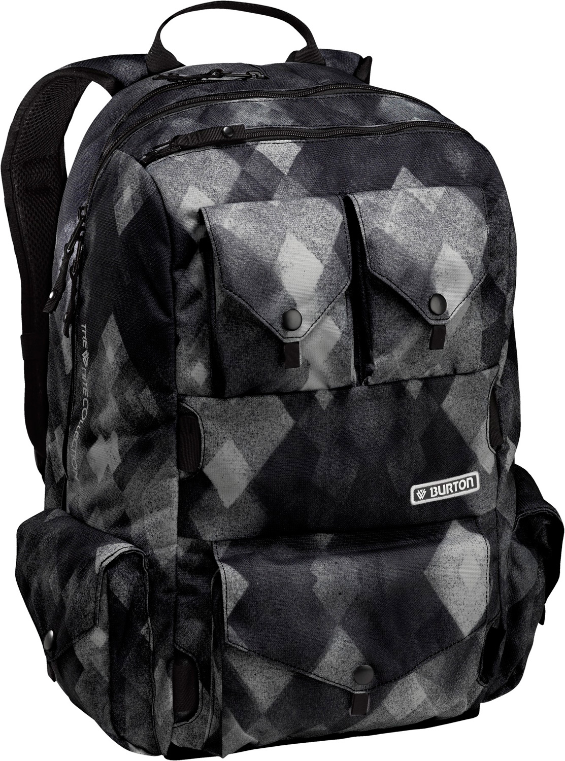 Snowboard Shaun white's ultimate daypack. Live the dream with first class features and signature Twc art inside. Hideaway skate straps for a clean look when you're on a roll.Key Features of the Burton The White Collection Backpack: Fabrication: 600Dx1200D Polyester Hideaway Skate carry Easy access, Side-Entry Padded Laptop compartment [9in x 12in x 2in] [24cm x 31cm x 5cm] oversized Studio Headphone Sunglass / Sound Pocket Signature Shaun white Print Lining [20in x 10in x 7in] [50cm x 25cm x 17cm] 30L - $57.95