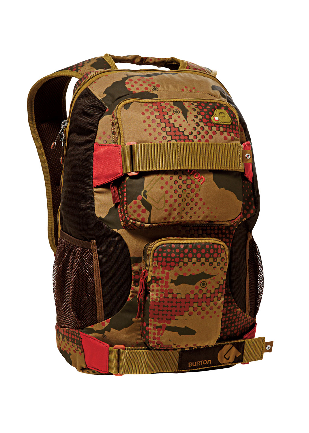 Snowboard If you're looking for a slick design and varied patterns on your backpack, then the Burton Treble Yell Backpack is up your prairie. With a Saharan desert contrast, this backpack is made for people who enjoy the outdoors. It features interconnected head phone options and a comfortable weight distribution design, which takes out the ache of long term wear. For school kids on the go, it even offers room for a laptop, among other things; making this a good all-around backpack to have at your disposal.Key Features of the Burton Treble Yell Backpack: 17L [17in x 12in x 8in] [43cm x 30cm x 21cm] Laptop Pocket [Fits Most 12 in. Laptops] Vertical Skate Carry Cush Ergonomic Shoulder Harness Sound Pocket with Headphone Cable Port - $23.95