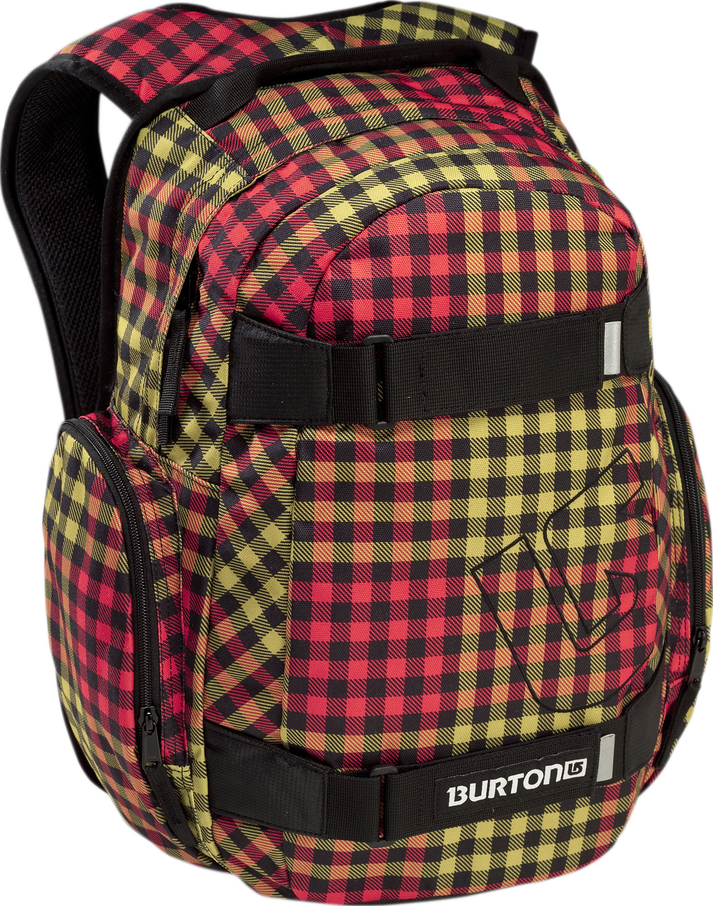Skateboard Burton's Treble Yell backpack is a fashionable bag is packed with features. It includes a laptop pocket, an ergonomic shoulder harness and vertical skate carry straps. The vertical skate carry allows you to strap your skateboard or snowboard to your bag and carry it anywhere with ease. It also has two pockets and two side pockets to provide ample storage for all your boarding needs. Wear a Treble Yell Pack and you will be the envy of the mountain.Key Features of the Burton Treble Yell Backpack: 23L [17in x 11.5in x 7in] [43cm x 29.25cm x 18cm] Weight: 1.25 lbs [0.57 kg] Fabrication: 600D Polyester / 300D Polyester Dobby Padded Laptop Pocket [14in x 10in x 1in] [35.5cm x 25.5cm x 2.5cm] Vertical Skate Carry Cush Ergonomic Shoulder Harness - $22.95