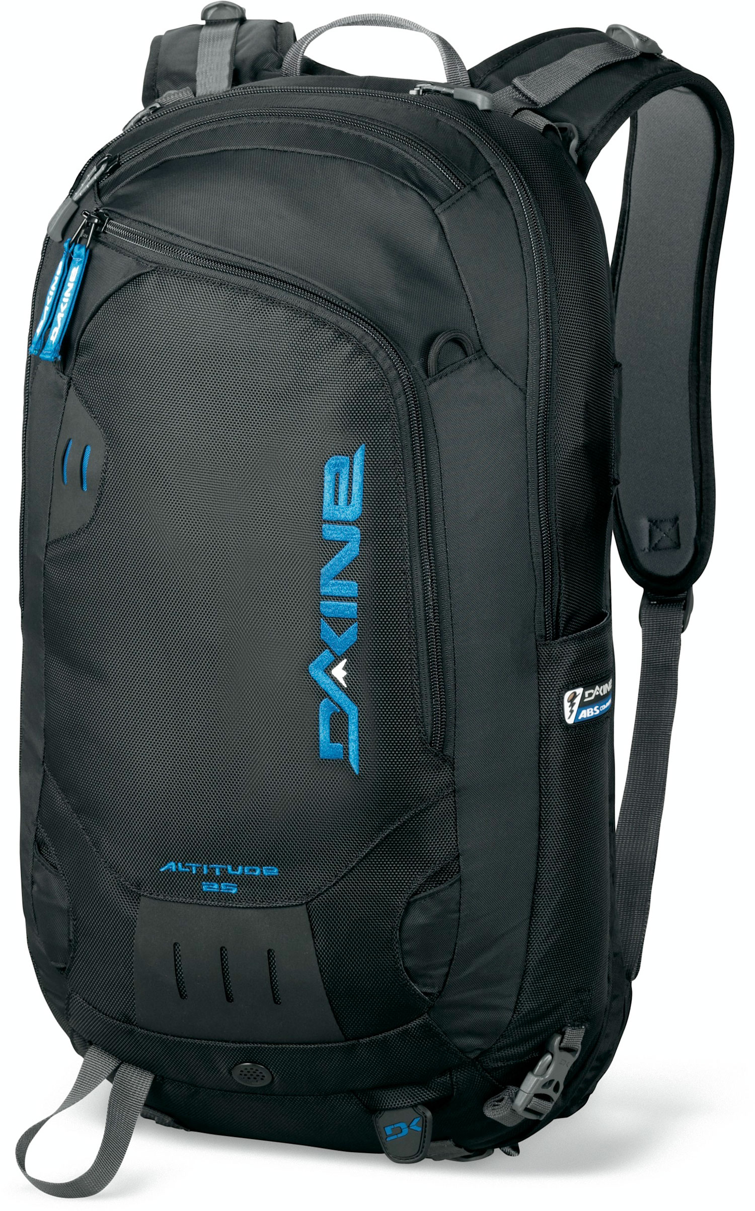 "Ski Key Features of the Dakine Altitude Abs 40L Backpack: 2460 cu.in. [ 40L ] 28 x 12 x 10"" [ 71 x 30 x 30cm ] 4 lbs. [ 1.8kg ] w/ Dakine base unit 8 lbs. [ 3.6kg ] w/ ABS Vario base unit 630D Nylon 1260D Ballistic Nylon Compatible with ABS Avalanche Vario Base Unit [ sold separately ] Vertical snowboard carry Retractable cable ski carry Deployable helmet carry Insulated hydro sleeve[ Dakine base unit only ] Snow tool/shovel pocket Ice axe carry Load compression straps Pre-curved internal framesheet Padded waist belt Rescue Whistle - $131.95"