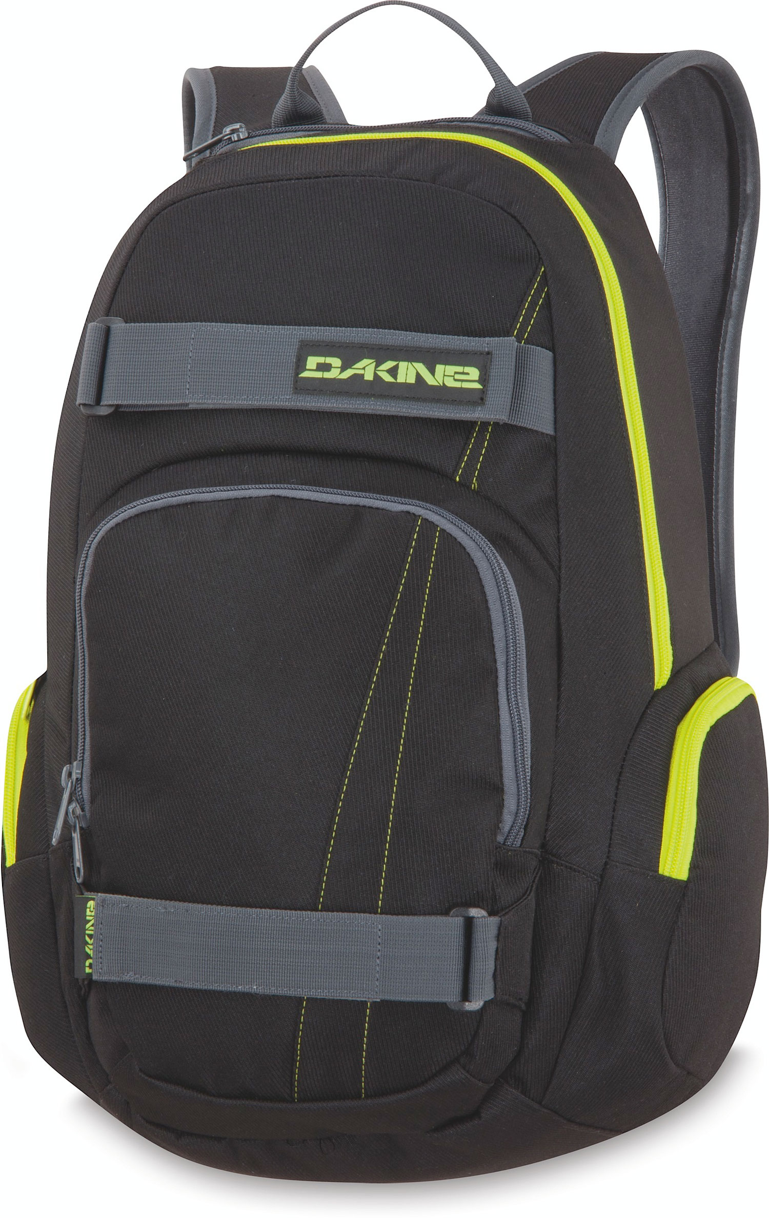 Surf Head to campus with your board in tow with the Atlas Pack.Key Features of the Dakine Atlas 25L Backpack: Skate carry straps. Fleece-lined sunglass pocket. Zippered side pockets for extra storage. Large main compartment and front organizer compartment. Made of 600D polyester. Volume: 1500 cubic inches. Measurements: Bottom Width: 12 in Middle Width: 12 in Top Width: 10 in Depth: 5 in Height: 20 in Strap Length: 36 in Strap Drop: 18 in Handle Length: 8 in Handle Drop: 3 in Weight: 1 lb 8 oz - $28.95
