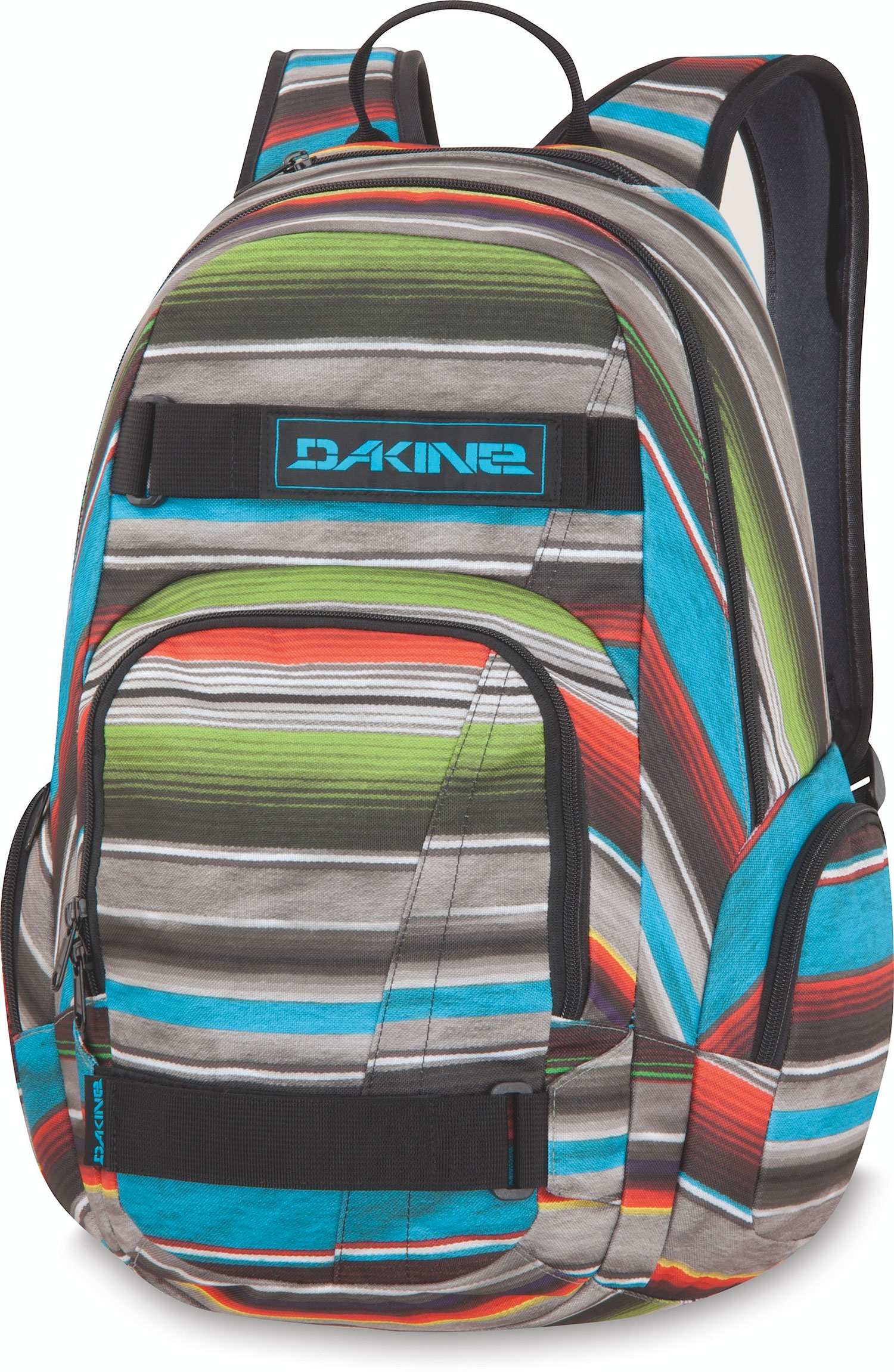 Surf Head to campus with your board in tow with the Atlas Pack.Key Features of the Dakine Atlas 25L Backpack: Skate carry straps. Fleece-lined sunglass pocket. Zippered side pockets for extra storage. Large main compartment and front organizer compartment. Made of 600D polyester. Volume: 1500 cubic inches. Measurements: Bottom Width: 12 in Middle Width: 12 in Top Width: 10 in Depth: 5 in Height: 20 in Strap Length: 36 in Strap Drop: 18 in Handle Length: 8 in Handle Drop: 3 in Weight: 1 lb 8 oz - $45.00