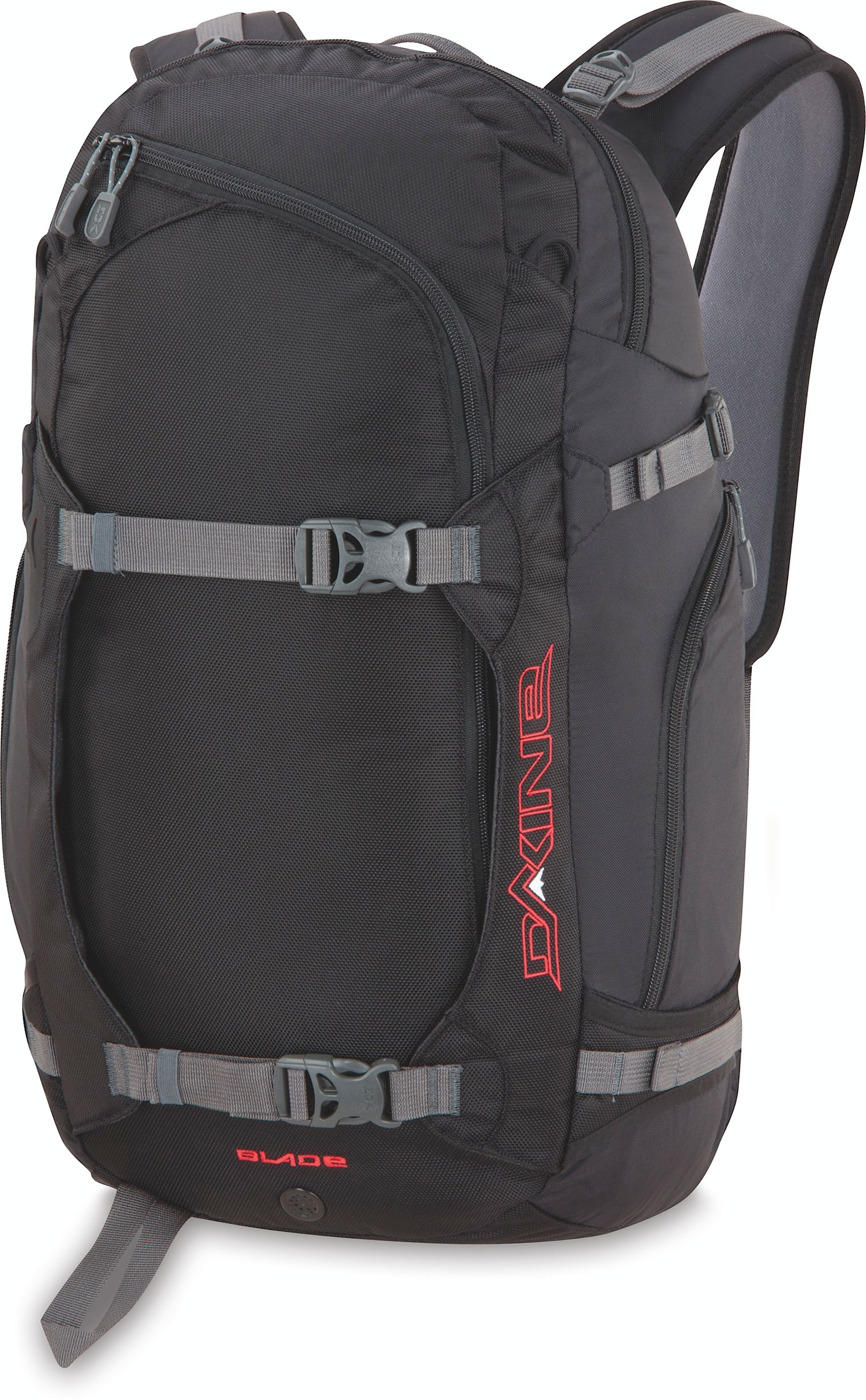 "Ski The durable, feature-loaded DAKINE Blade 38L Backpack boasts more than enough storage space for all-day backcountry excursions, with comfortable carrying options for both boards and skis.Key Features of the Dakine Blade 38L Backpack:  24 x 13 x 9"" (61 x 32 x 23cm   38L (2300 cu. in.   630D Nylon  1260 Ballistic Nylon.  Vertical or cross snowboard carry  Retractable cable or a-frame ski carry  Top load and back access entry into main compartment  Deployable helmet carry  Insulated hydro sleeve  Quick access snow tool/snow shovel pocket  Quick draw ice axe sleeve  Load compression straps  Padded waist belt  Billowed stash pocket. - $113.95"