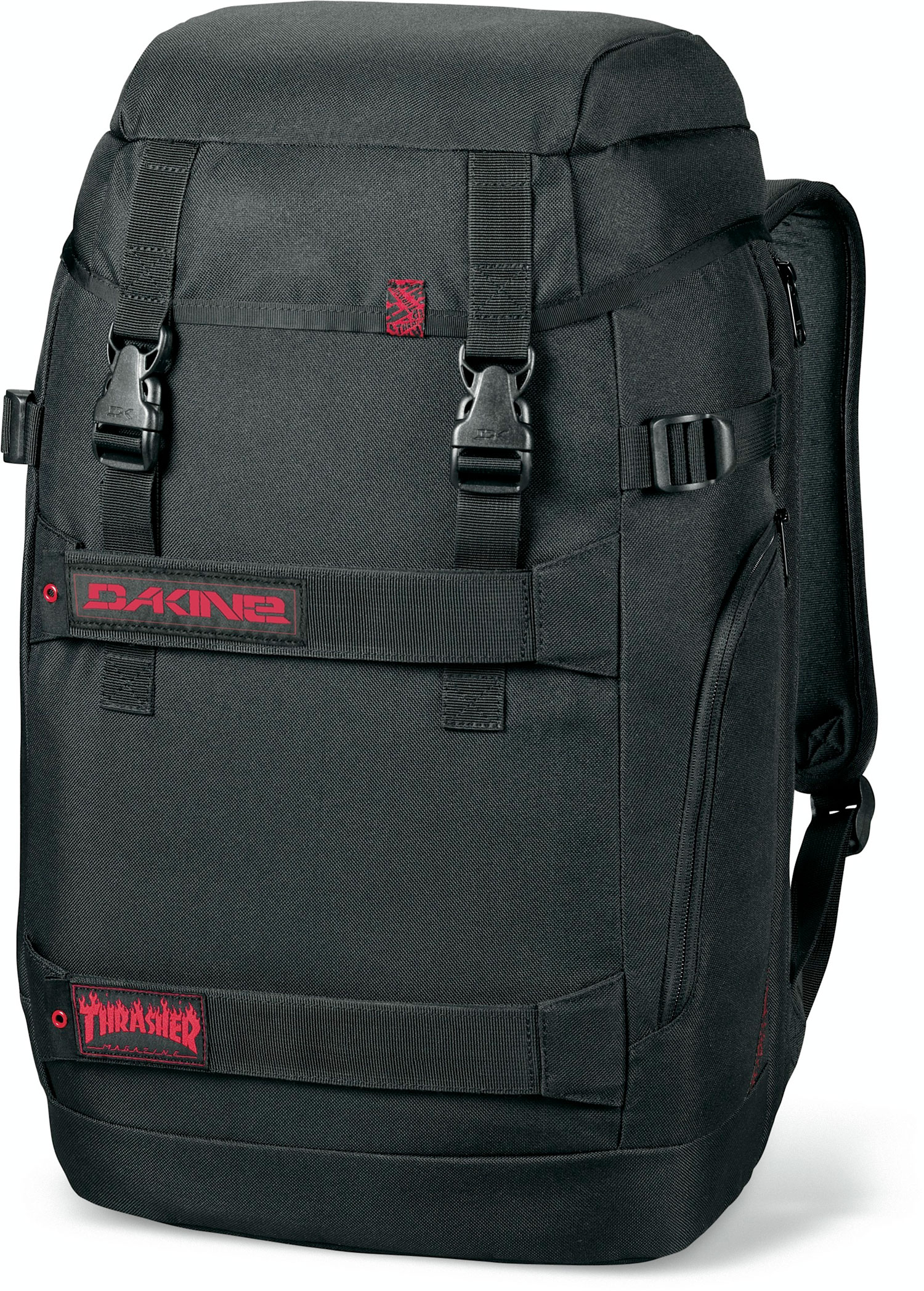 "Surf Key Features of the Dakine Burnside 28L Backpack: 1725 cu. in. [ 28L ] 19.5 x 11.5 x 9.5"" [ 49 x 29 x 24cm ] 600D Polyester Fleece lined, padded sleeve fits most 15"" laptops Side access to laptop sleeve Skate carry straps zippered side pockets Padded bottom panel - $55.00"