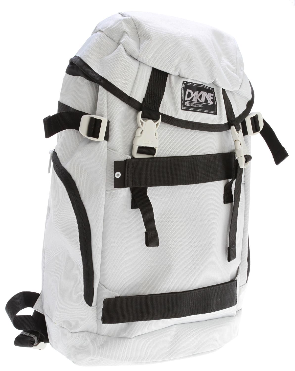 "Surf Key Features of the Dakine Burnside Backpack: Fleece lined, padded sleeve fits most 15"" laptops Side access to laptop sleeve Skate carry straps Zippered side pockets Padded bottom panel Volume: 1725 cu. in. [ 28 L ] Size: 19.5 x 11.5 x 9.5"" [ 49 x 29 x 24cm ] Materials: 600D Polyester - $32.95"