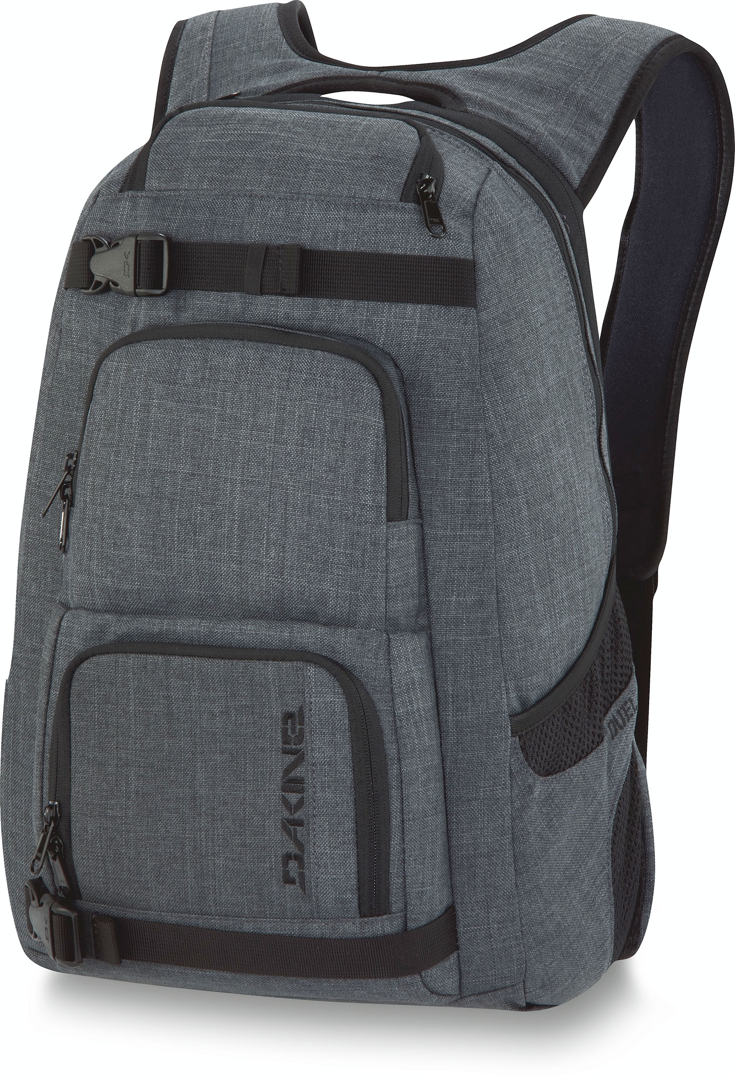 "Surf Key Features of the Dakine Duel 26L Backpack: 1600 cu. in. [ 26L ] 19 x 12 x 9"" [ 48 x 30 x 23cm ] 600D Polyester 420D Nylon Dobby ( Black ) Padded sleeve fits most 14"" laptops Skate carry straps insulated cooler pocket Organizer pocket Fleece lined sunglass pocket Mesh side pockets - $70.00"