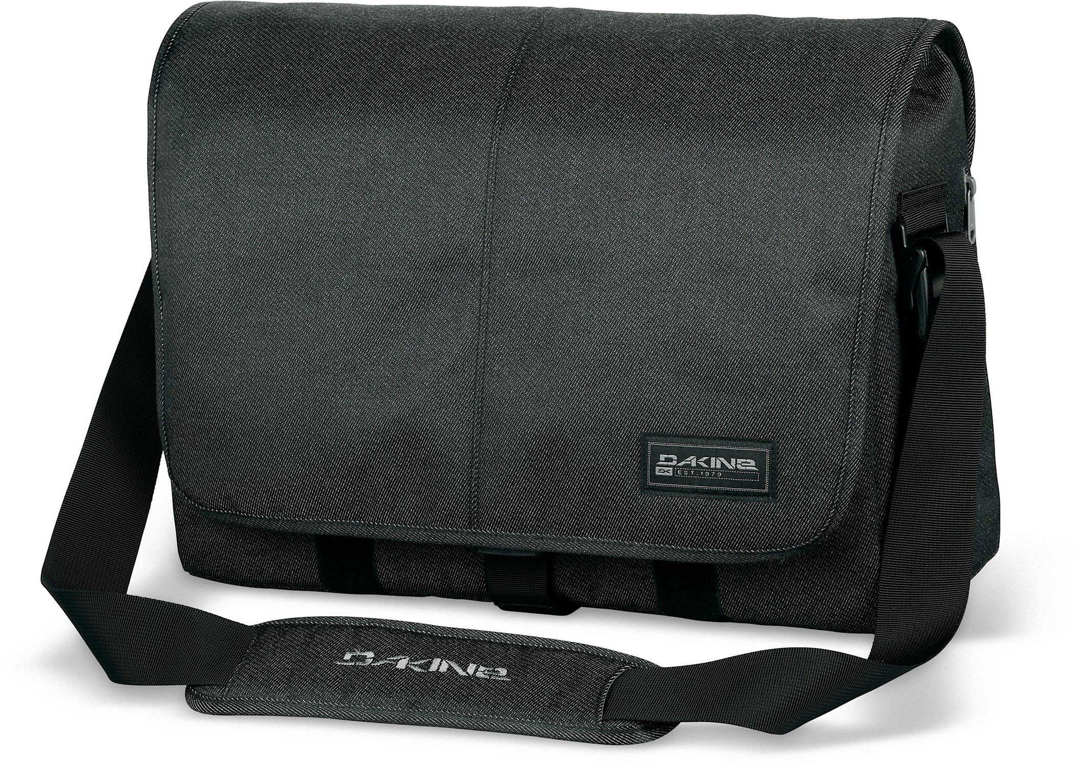 "Surf Key Features of the Dakine Exchange Messenger Bag: Padded sleeve fits most 17"" laptops Adjustable padded shoulder strap Internal organizer pockets 1350 cu.in. [ 22 L ] 18 x 12.5 x 6"" [ 46 x 32 x 15cm ] 600D Polyester - $34.95"