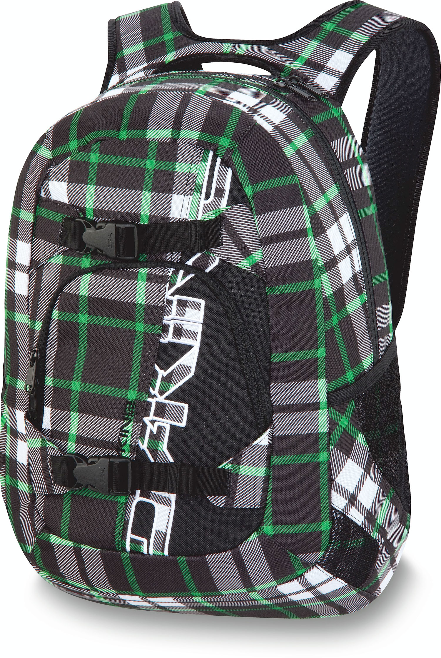 "Surf Key Features of the Dakine Explorer 26L Backpack: 1600 cu. in. [ 26L ] 20 x 12 x 10"" [ 50 x 30 x 25cm ] 600D Polyester Padded sleeve fits most 15"" laptops Skate carry straps MP3 / fleece sunglass pockets Organizer pocket Mesh side pockets - $41.95"