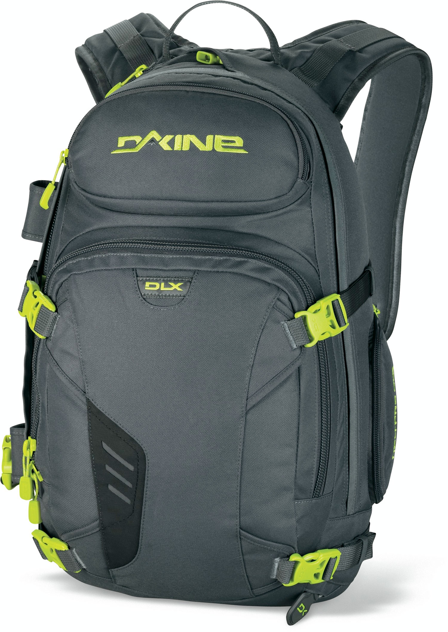 "Ski Key Features of the Dakine Heli Pro DLX 20L Backpack: 1200 cu. in. [ 20L ] 21 x 11 x 5.5"" [ 53 x 28 x 14cm ] 3 lbs. [ 1.4kg ] 600D Polyester cross and vertical snowboard carry Retractable cable ski carry Fleece lined goggle pocket Deployable water bottle pocket Insulated hydro sleeve quick draw ice axe sleeve External snow tool / shovel pocket Padded waist belt - $105.00"