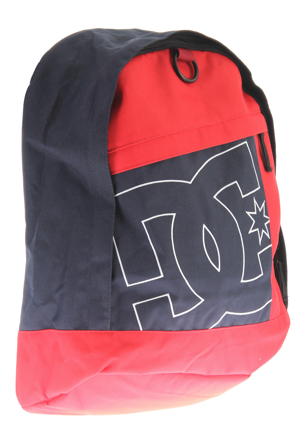 Key Features of the DC Slider Backpack: School backpack Asymmetrical front paneling detail Vertical zippered slip pocket on front panel Large main compartment with elevated laptop sleeve Interior organizer Exterior 'O' ring detail Padded back panel with DC logo embroidery detail Padded shoulder straps with suede logo detail Large DC logo outline stitch on front panel - $25.95