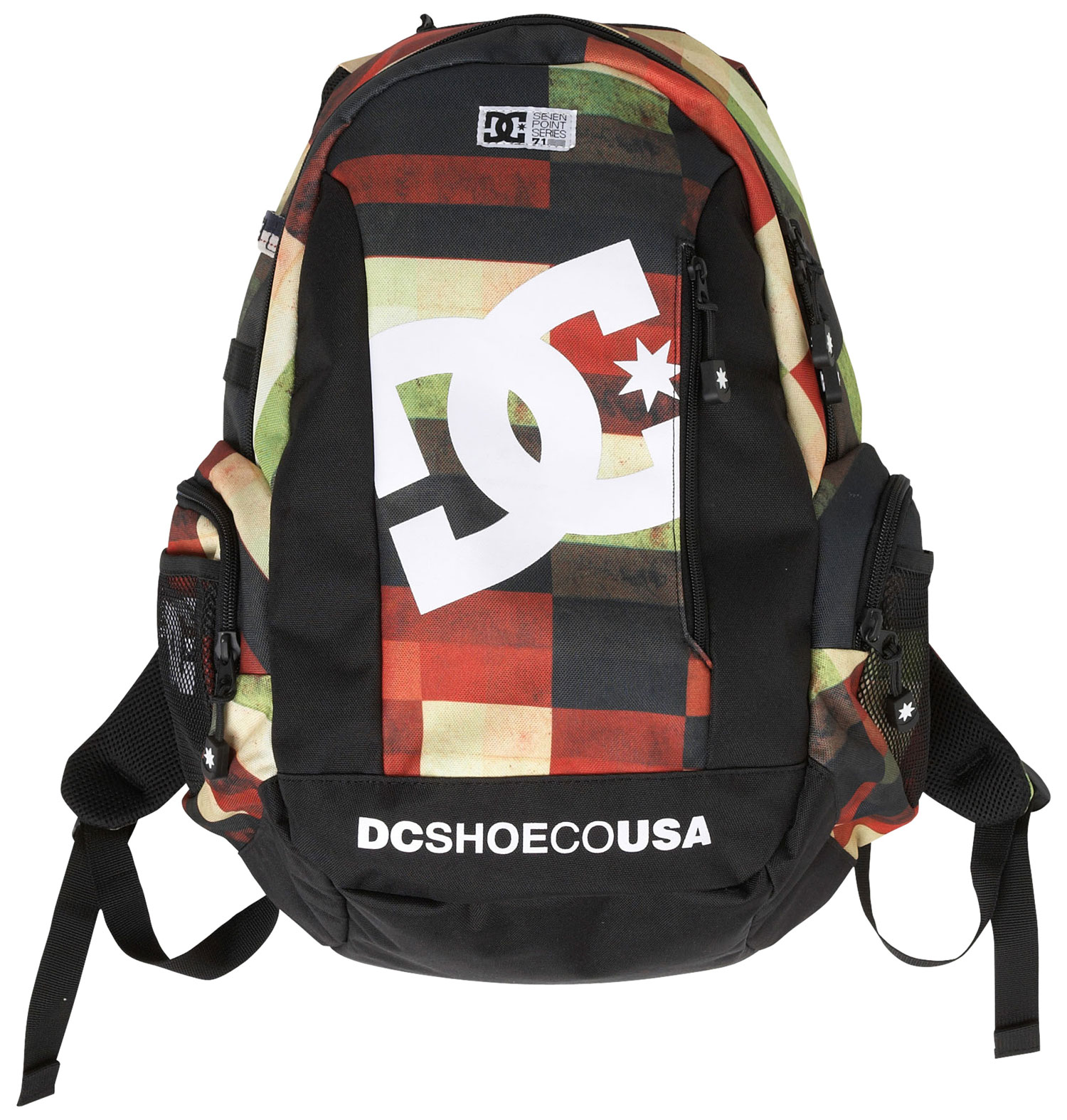Key Features of the DC Seven Point 7 Backpack: 600d polyester shell fabric Ergonomic shape for proper weight distribution on back Dual side patch pockets with mesh slip pockets on top Vertical board carrying system with adjustable closure Front slip pocket Main compartment with elevated laptop sleeve and organizer Top slip media compartment Cohort system compatible Padded shoulder straps with integrated handle. - $55.00