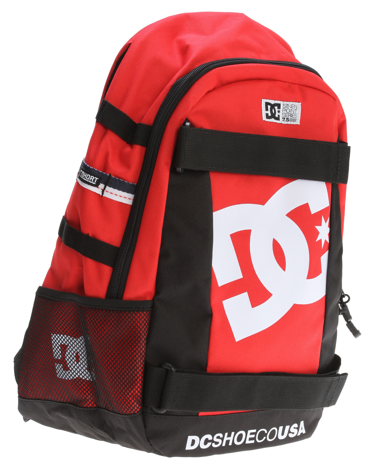 "Skateboard Key Features of the DC Seven Point 5 Backpack: One Size - 18.75"" X 11.5"" X 8"" (25L Vol) 100% Polyester Entry Level skate backpack front dual skate straps large main compartment with interior organizer laptop slip compartment side mesh pockets with DC logo screenprint padded backpanel and shoulder straps ergonomically designed to distribute weight correctly custom zipper pulls and branding throughout DC Cohort Integration compatible - $31.95"