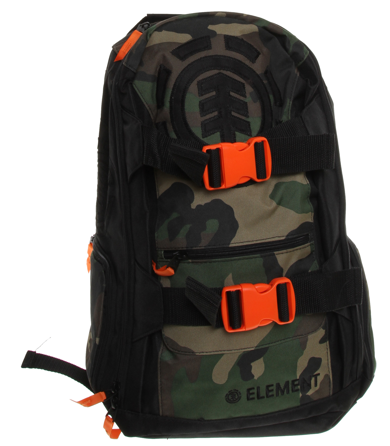 "Skateboard Key Features of the Element Mohave Camo Backpack : 600D 100% poly with buckle skate straps Zip side pockets Fleece sunglass drop sleeve Inside laptop sleeve and front zip drop pocket with front applique 11""w x 20""h x 8""d - $37.95"
