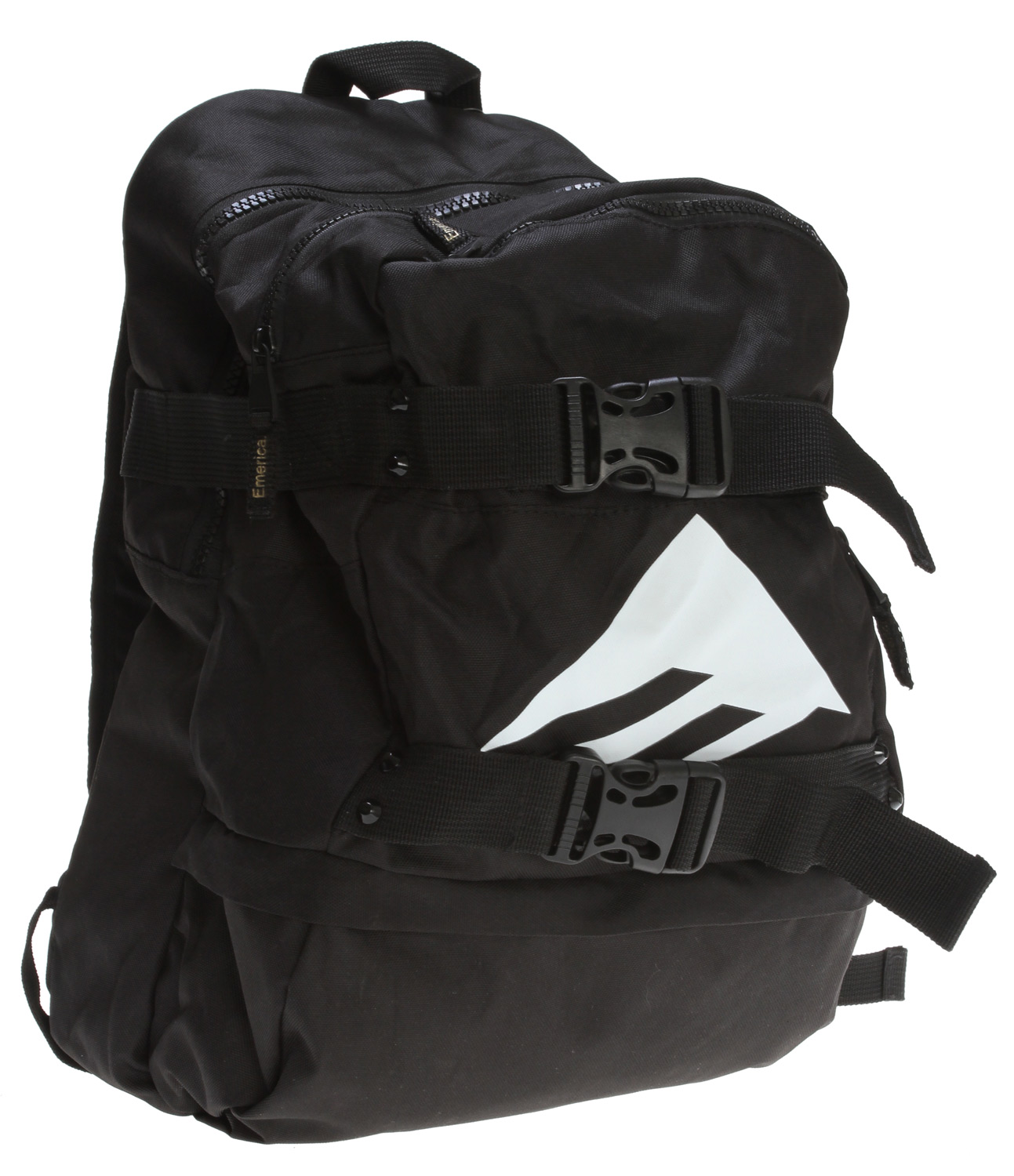 "Skateboard Key Features of the Emerica Invincible Backpack: 17.5"" x 11.5"" x 8"" 600D backpack Multi compartments Cooler pocket lined with tarpaulin Skate straps Interior laptop sleeve Direct print and embroidery - $40.95"