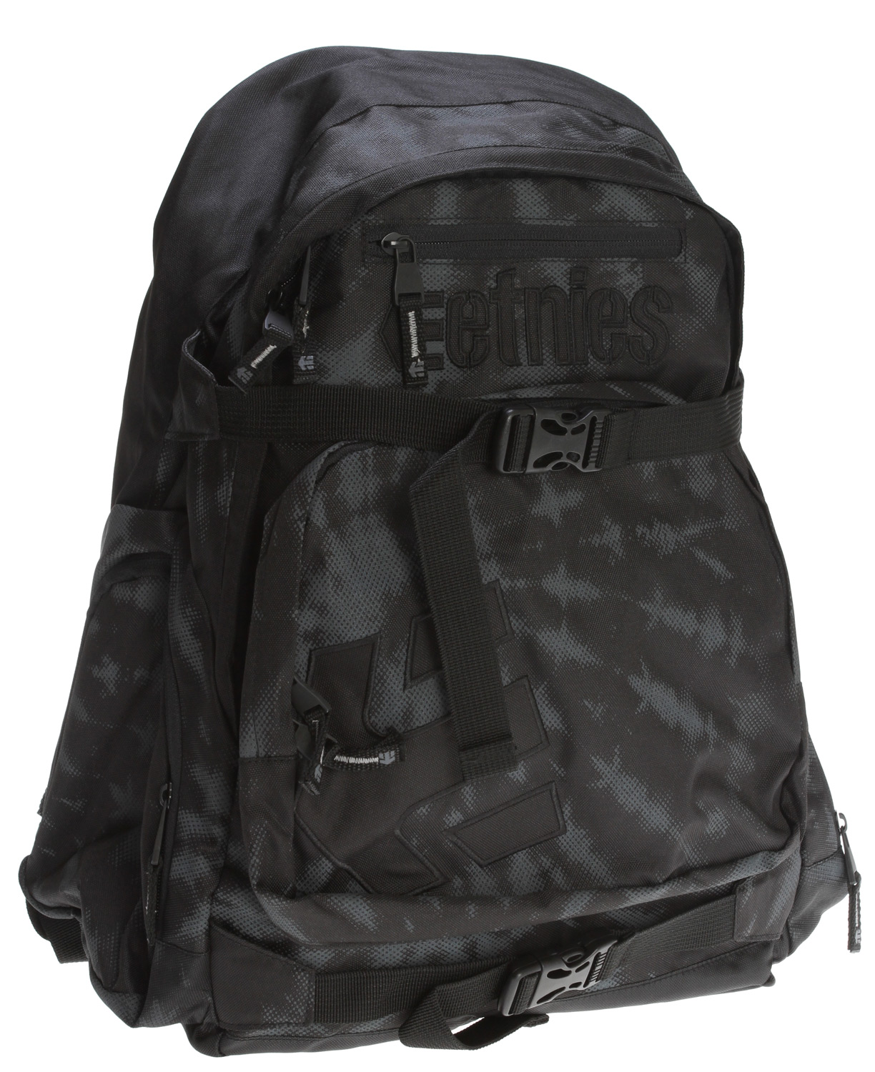 Skateboard Key Features of the Etnies Drake Backpack: 600D poly w/ pvc coating Large main compartment Front utility compartment Side storage pockets Internal storage pockets Padded laptop sleeve Padded shoulder straps Skate straps Embroidered log appliques - $38.95