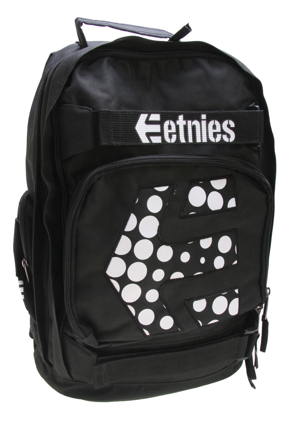 Skateboard The Etnie's Fosgate 3 Backpack is a true treat for Etnie's Action Apparel fans. It comes complete with custom featured art, black and white stock and ample room for books and more. Looking out for the comfort of the Etnie's fan is the 600 D Polyester material, a smooth fabric that's as easy on the eyes as it is the skin. So while you're living in style, it provides the cool realistic approach to back to school events. Key Features of the Etnies Fosgate 3 Backpack black/white Dual backpack compartments Vertical edge zippers Etnie's polyester comfortKey Features of the Etnies Fosgate 3 Backpack: 600D polyester back to school backpack with vertical front zipper One main compartment etnies custom screen-printed art - $36.95