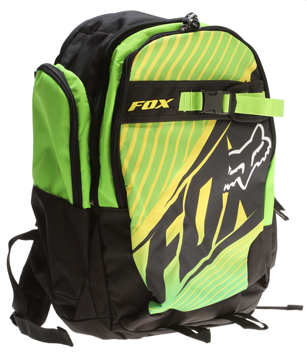 "Motorsports Key Features of the Fox Step Up Backpack: 600D polyester Multi compartment bag Fleece lined sunglass pocket Air mesh back panel with ergonomic shoulder straps Water bottle fits in side pocket Padded laptop sleeve Organizer pockets Skate strap system 19.5"" x 12.5"" x 9"" - $41.95"