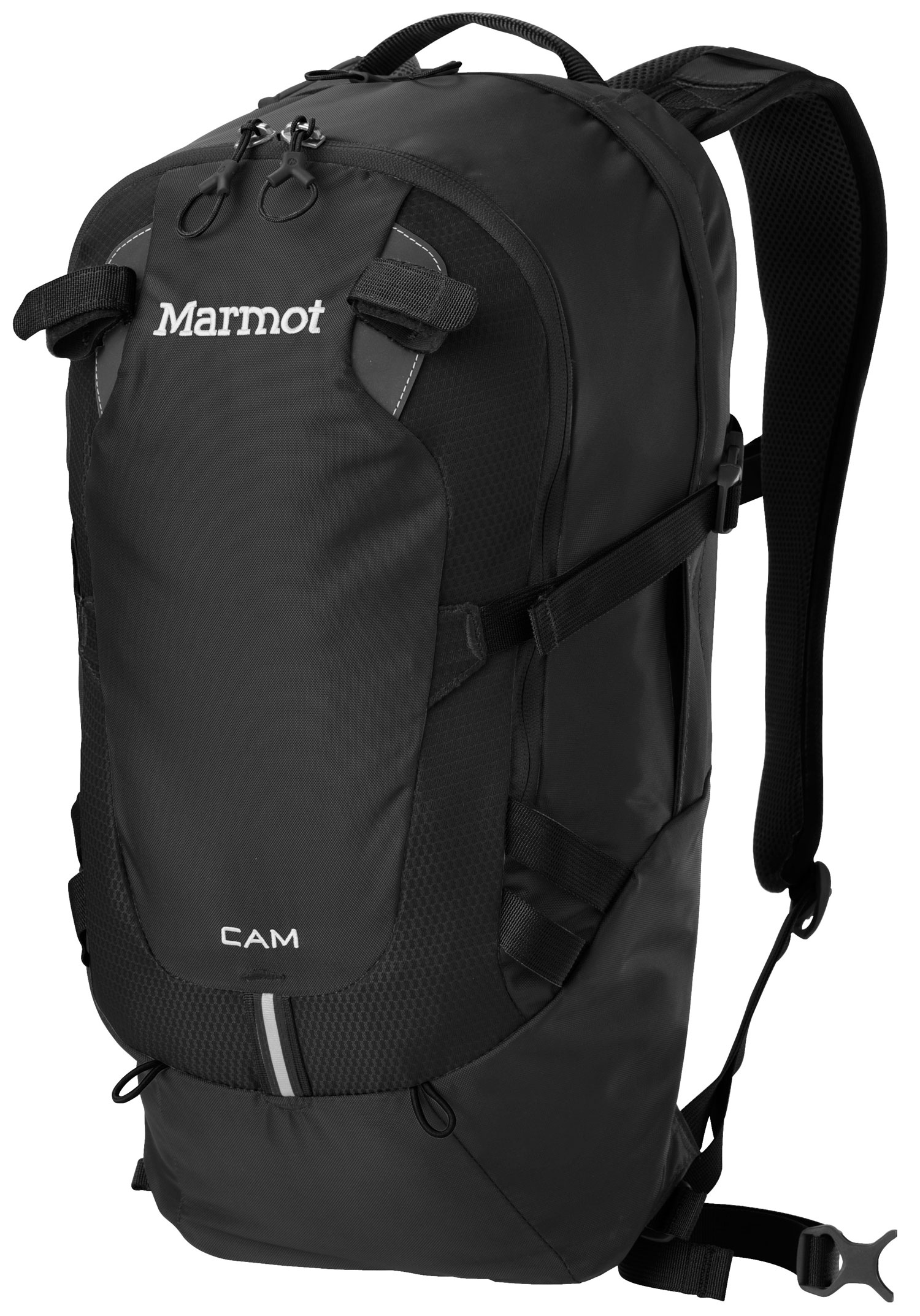 "Key Features of the Marmot Cam 15 15L Backpack: Materials 420d High Tenacity Nylon Reinforcement 420d High Tenacity Nylon, Double Bottom Weight 1lbs 8.5oz (695g) Volume 920ci » 15 liters Extremely Durable 420 Denier Oxford Weave Nylon Double Layered Bottom of Pack for Added Abrasion Resistance and Increased Durability Spacer Airmesh Back Panel and Shoulder Straps for Added Comfort and Breathability Padded Laptop Sleeve Fits Most 13"" Computers Clipping Points with Reflective Tape Internal Organizer Front Pocket with Key Clip Elastic Leash for Trekking Pole(s) Hydration Port and Clip for Hanging Reservoir Clipping Points on Shoulder Straps Removable Webbing Waist Belt Water Bottle Pockets Compression Straps to Evenly Distribute Load - $79.95"