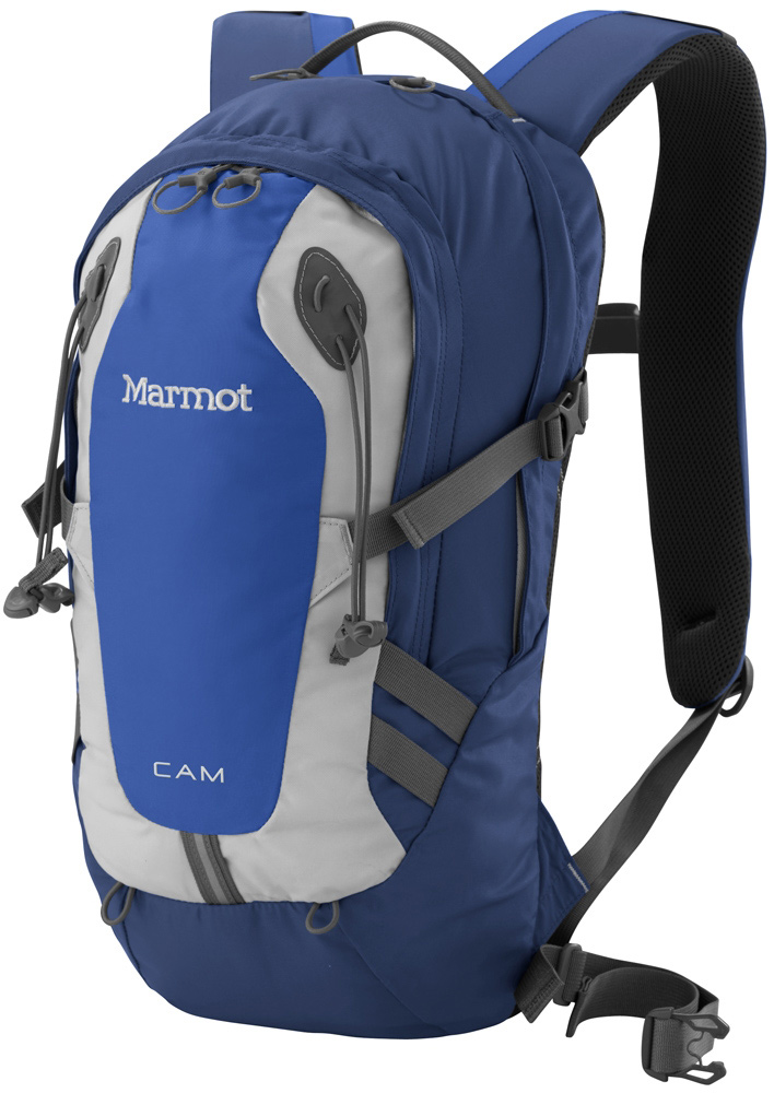 "Surf Key Features of the Marmot Cam 15 15L Backpack: Materials 420d High Tenacity Nylon Reinforcement 420d High Tenacity Nylon, Double Bottom Weight 1lbs 8.5oz (695g) Volume 920ci » 15 liters Extremely Durable 420 Denier Oxford Weave Nylon Double Layered Bottom of Pack for Added Abrasion Resistance and Increased Durability Spacer Airmesh Back Panel and Shoulder Straps for Added Comfort and Breathability Padded Laptop Sleeve Fits Most 13"" Computers Clipping Points with Reflective Tape Internal Organizer Front Pocket with Key Clip Elastic Leash for Trekking Pole(s) Hydration Port and Clip for Hanging Reservoir Clipping Points on Shoulder Straps Removable Webbing Waist Belt Water Bottle Pockets Compression Straps to Evenly Distribute Load - $55.95"