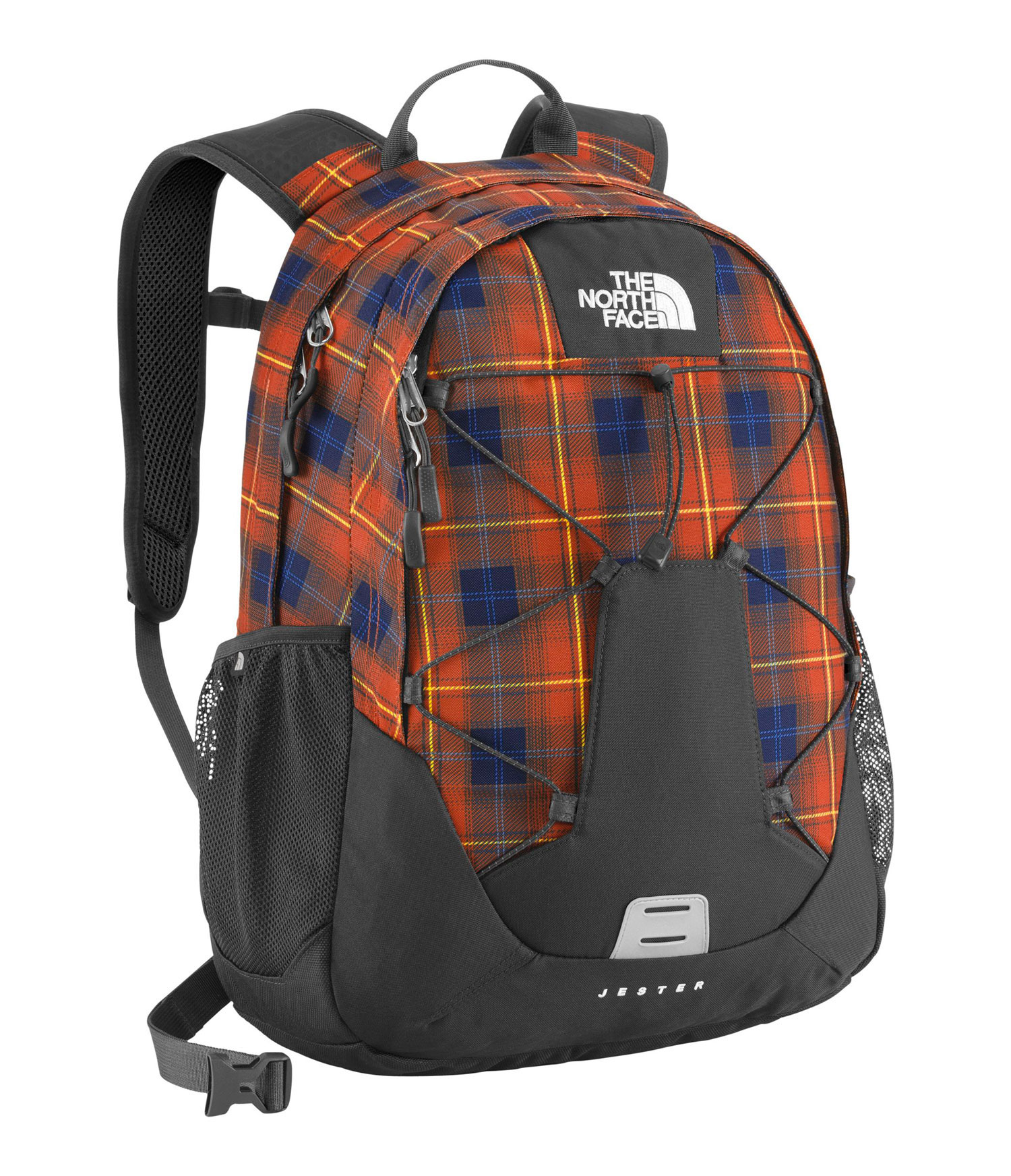 Key Features of The North Face Jester Backpack: Avg Weight: 1 lb 12 oz (794 g) Volume: 1648 in3 (27 liters) Fabric: 600D polyester, 300D mini-ripstop, 1200D polyester FlexVent ™ injection-molded shoulder straps Comfortable, stitched foam back panel Removable hipbelt Large main compartment fits books and binders Secondary compartment with organization Mesh side water bottle pockets - $48.95