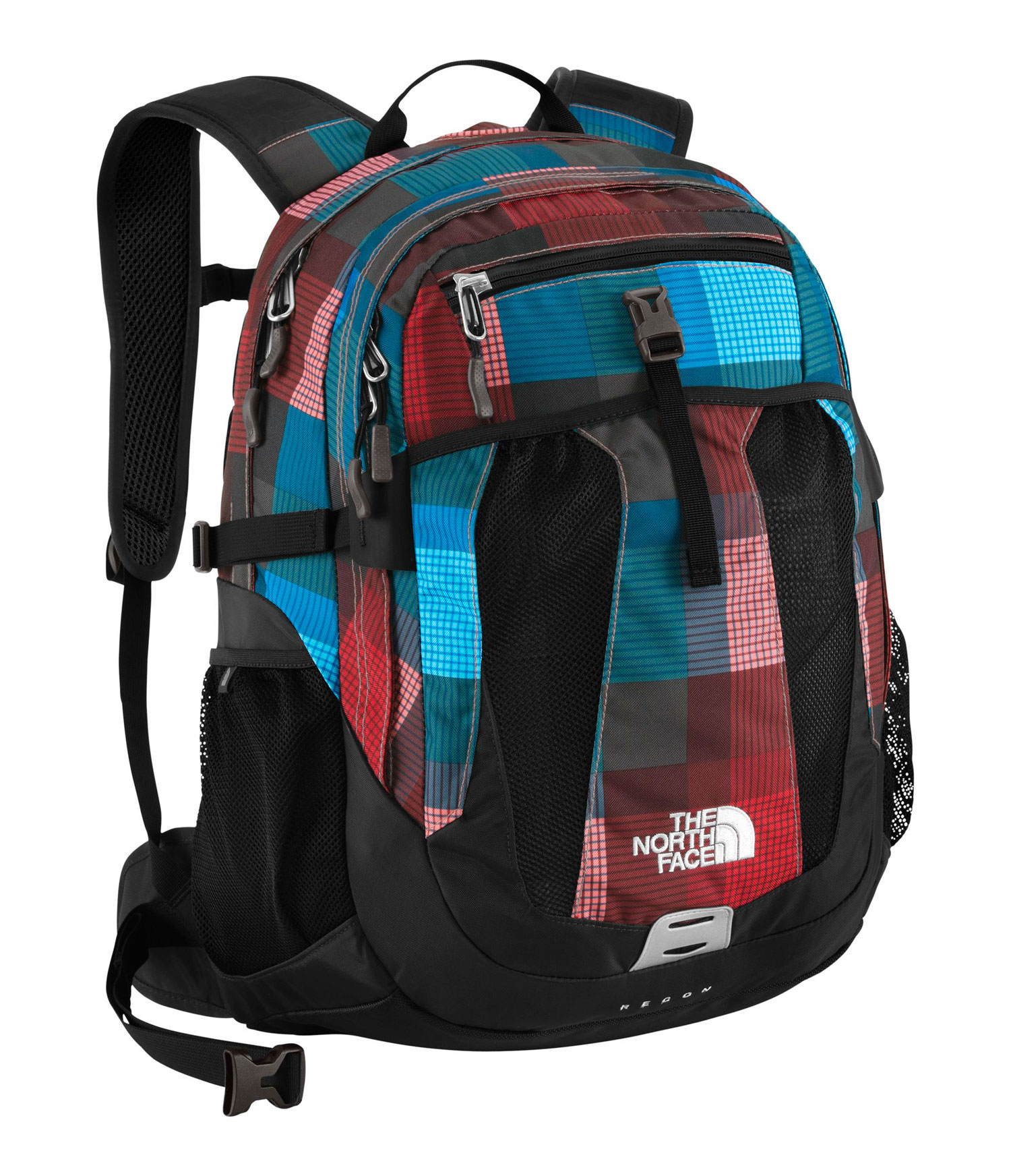 Key Features of The North Face Recon Backpack: Avg Weight: 2 lbs 10 oz (1182 g) Volume: 1770 in3 (29 liters) Fabric: 420D nylon, 600D polyester print, 1680D ballistics nylon FlexVent ™ injection-molded shoulder straps with additional PE foam for added comfort Comfortable, padded Airmesh back panel with Spine Channel and PE sheet for extra back support Integrated reflective light loop Winged, stowable hipbelt Large main compartment with variable-sized laptop sleeve, organization and hydration port Secondary compartment with organization Large front mesh drop pocket Small front panel stash pocket Mesh side water bottle pockets Women-specific version of this daypack available on page 19 - $74.95
