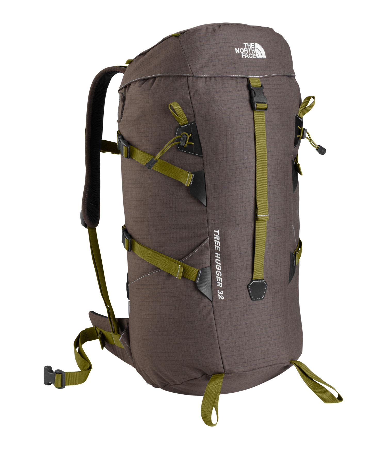 The North Face Tree Hugger Backpack is a versatile and eco-friendly work of art and utility made from recycled materials.  Comfy foam mesh back panels will take your mind off of your baggage while you're gazing on and breathing in the beautiful outdoors.   It also features nifty outside pockets to hold your camera, phone and other items you might need to access quickly.  For the hiker and camper who is also environmentally conscientious, there is great peace of mind in knowing that everything from the buckles to the webbing on the North Face Tree Hugger Backpack has been recycled.Key Features of The North Face Tree Hugger 32L Backpack: 100% recycled polyester webbing, mesh, foams, and pack fabric panels Recycled, reground plastic buckles Convenient exterior pockets Comfy, breathable back panel mesh pods Multiple compression points lend versatility Average Weight: 2 lbs 14 oz (1290 g  Volume: 1950 in³ (32 liters  Fabric: 100% merino wool ripstop - $108.95
