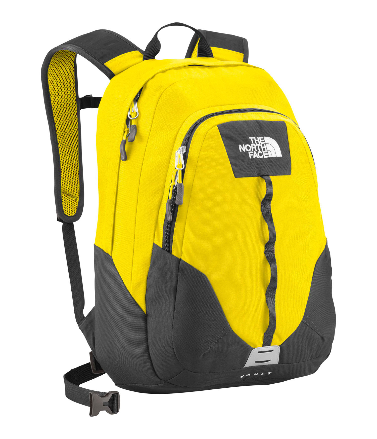 Key Features of The North Face Vault Backpack: Avg Weight: 1 lb 10 oz (730 g) Volume: 1587 in3 (26 liters) Fabric: 600D polyester, 300D mini-ripstop, 1200D polyester FlexVent ™ injection-molded shoulder straps Comfortable, stitched foam back panel Large main compartment fits books and binders Secondary compartment with organization Women-specific version of this daypack available on page 20 - $41.95