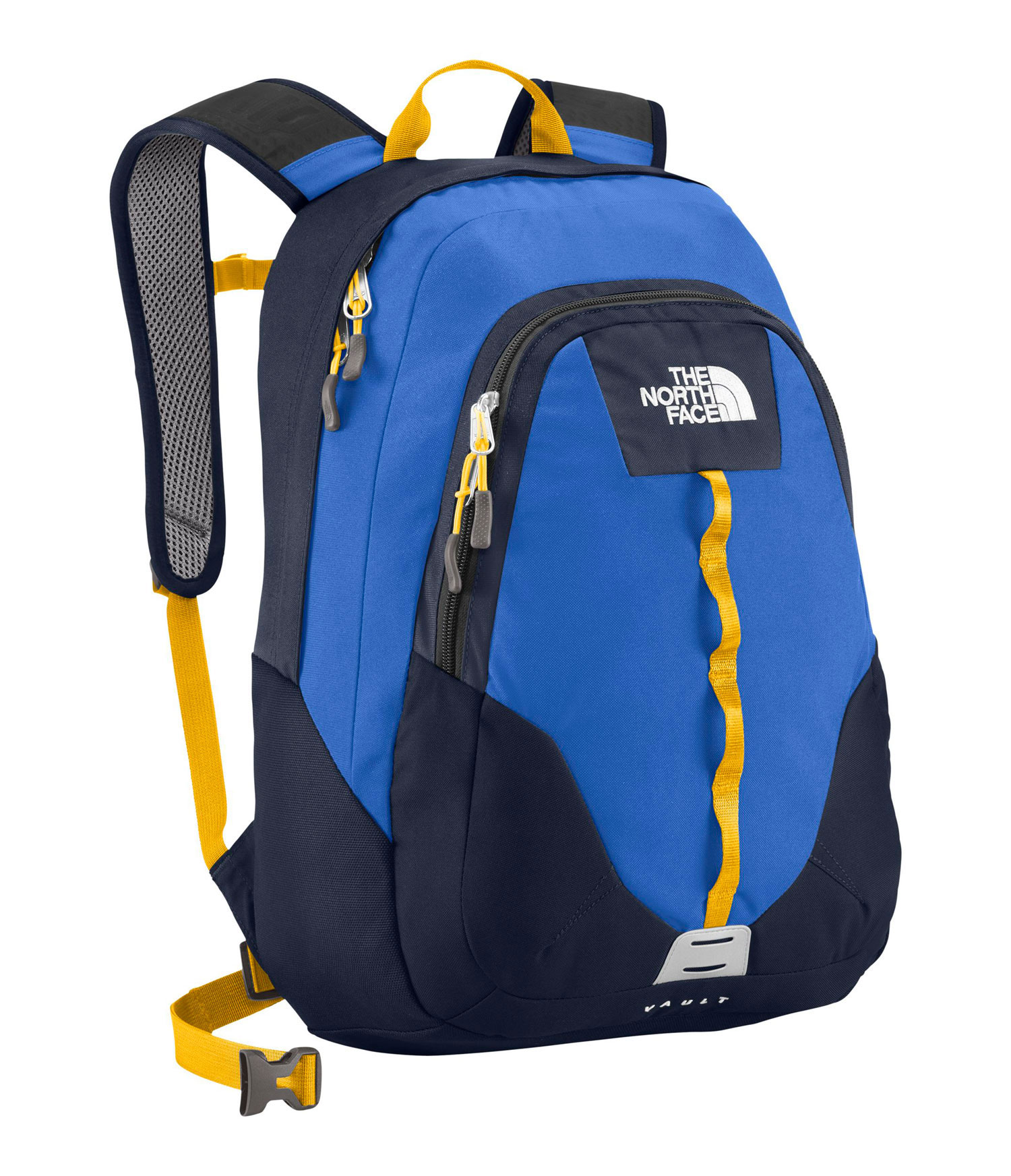 Key Features of The North Face Vault Backpack: Avg Weight: 1 lb 10 oz (730 g) Volume: 1587 in3 (26 liters) Fabric: 600D polyester, 300D mini-ripstop, 1200D polyester FlexVent ™ injection-molded shoulder straps Comfortable, stitched foam back panel Large main compartment fits books and binders Secondary compartment with organization Women-specific version of this daypack available on page 20 - $55.00