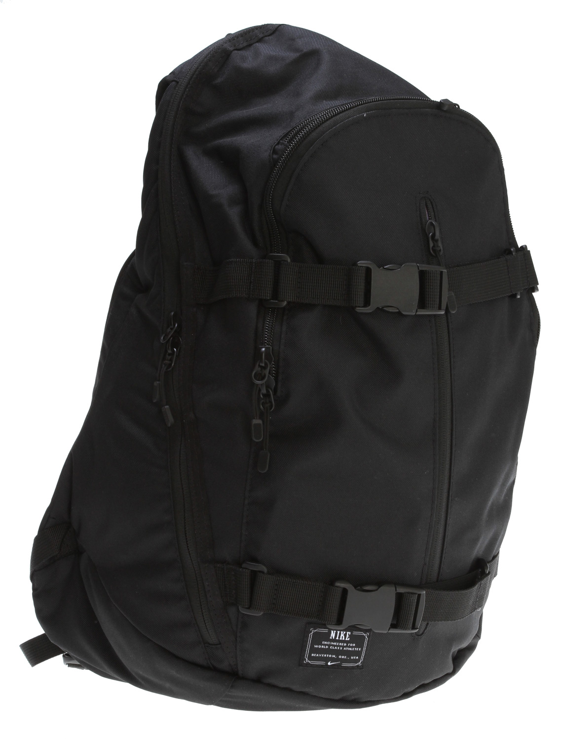 Skateboard Key Features of the Nike Hi Backpack: Recycled main body material Dual-zippered main compartment Heavy-duty zippers Easy-access zip pocket Convenient haul loop Cushioned backpanel Padded shoulder straps Adjustable sternum strap Interior mesh pocket Laptop sleeve Embroidered 6.0 branding. - $34.95