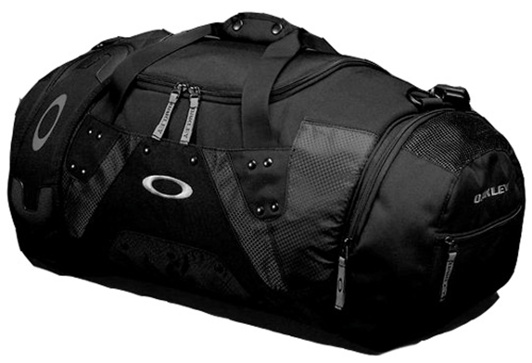 "Entertainment Key Features of the Oakley Large Carry Duffel Backpack: Padded shoulder strap Exterior compartment on each end with zip closure and mesh ventilation Exterior zip pocket on one end; slip pocket on the other Exterior slip pocket on one side Embroidered icon and logo accents Dimensions: 13"" H x 10.5"" W x 23.5"" D (41L capacity) - $65.00"