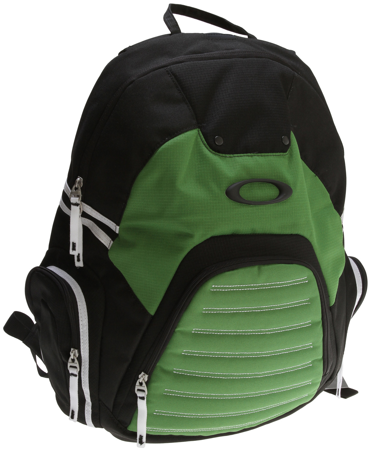 "Key Features of the Oakley Peak Load Backpack: 30L capacity Holds most 15"" laptops Organizer panel Brushed optics pocket on side Media pocket with headphone port Optics holster on shoulder strap Pique mesh back panel 19"" l x 15"" w x 5.5"" d - $34.95"