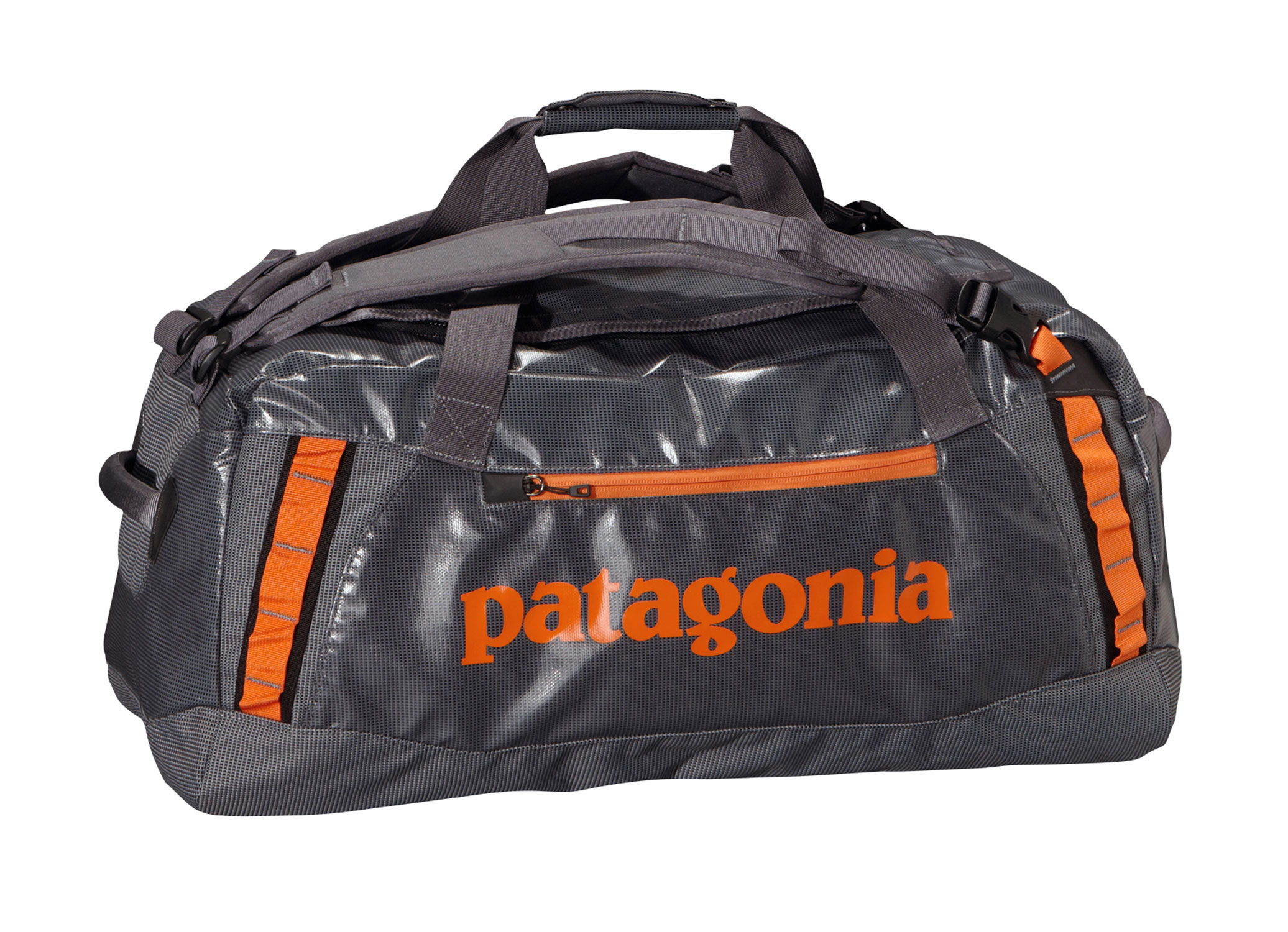 Entertainment A highly water-resistant and super-durable duffel designed to carry your gear to faraway places. FABRIC: 14.7-oz 1,200-denier polyester (50% solution-dyed) with a TPU-film laminate and a DWR (durable water repellent) finishKey Features of the Patagonia Hole 60L Duffle Bag Black: Waterproof fabric with sewn seams protects your gear in wet conditions Carry with handle or haul handles; four corner-mounted webbing daisy chains facilitate hauling and tying down big loads U-shaped lid provides easy access to the main compartment; zippered exterior pocket; two zippered internal mesh pockets Bottom padded with foam to protect contents - $89.95