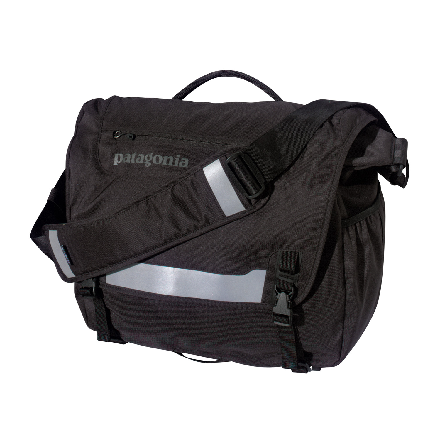MTB Patagonia's best-selling courier bag made of recycled polyesterKey Features of the Patagonia Half Mass Bag: Main flap opens to largest compartment, which houses one drop pocket, one mesh pocket, one padded electronics pocket, three slots for pens and a discrete and secure zippered pocket; zippered pocket on flap has moisture-shedding reverse coil zipper Padded computer sleeve is raised off the ground and will accommodate up to a 17? laptop. The sleeve secures with a buckle and strap Front flap features improved reflective piping and webbing bike-light mount for visibility at night Side mounted exterior water bottle pocket Interior drop pocket secures with hook and loop tab for quick access to boarding passes, magazines or newspapers Fully adjustable shoulder strap with floating pad, three point adjustable stability strap and top side carrying handle 22 L / 1343 cu in (1 lb 13.4 oz) 833 g Fabric: Body: 8.4-oz 600-denier 100% recycled polyester. Lining: 3.3-oz 200-denier polyester. Both with a polyurethane coating - $61.95